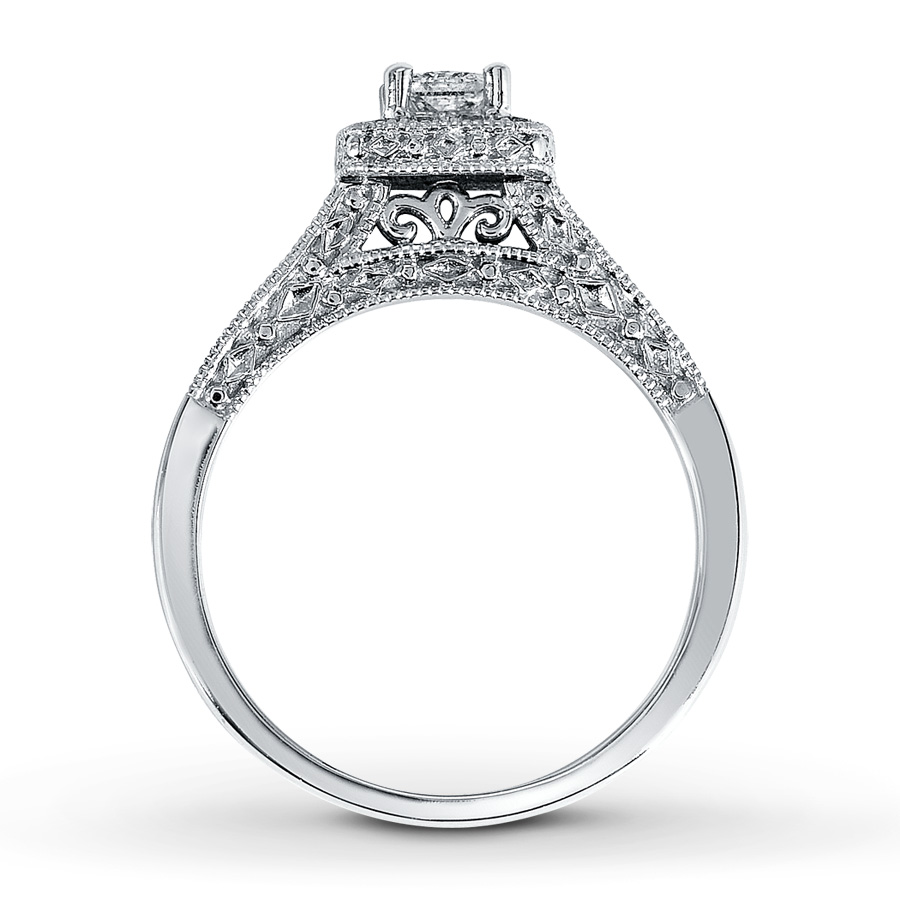 748587696 DIAMOND ENGAGEMENT RING 1/2 CT TW PRINCESS-CUT 14K WHITE GOLD | I Do ...