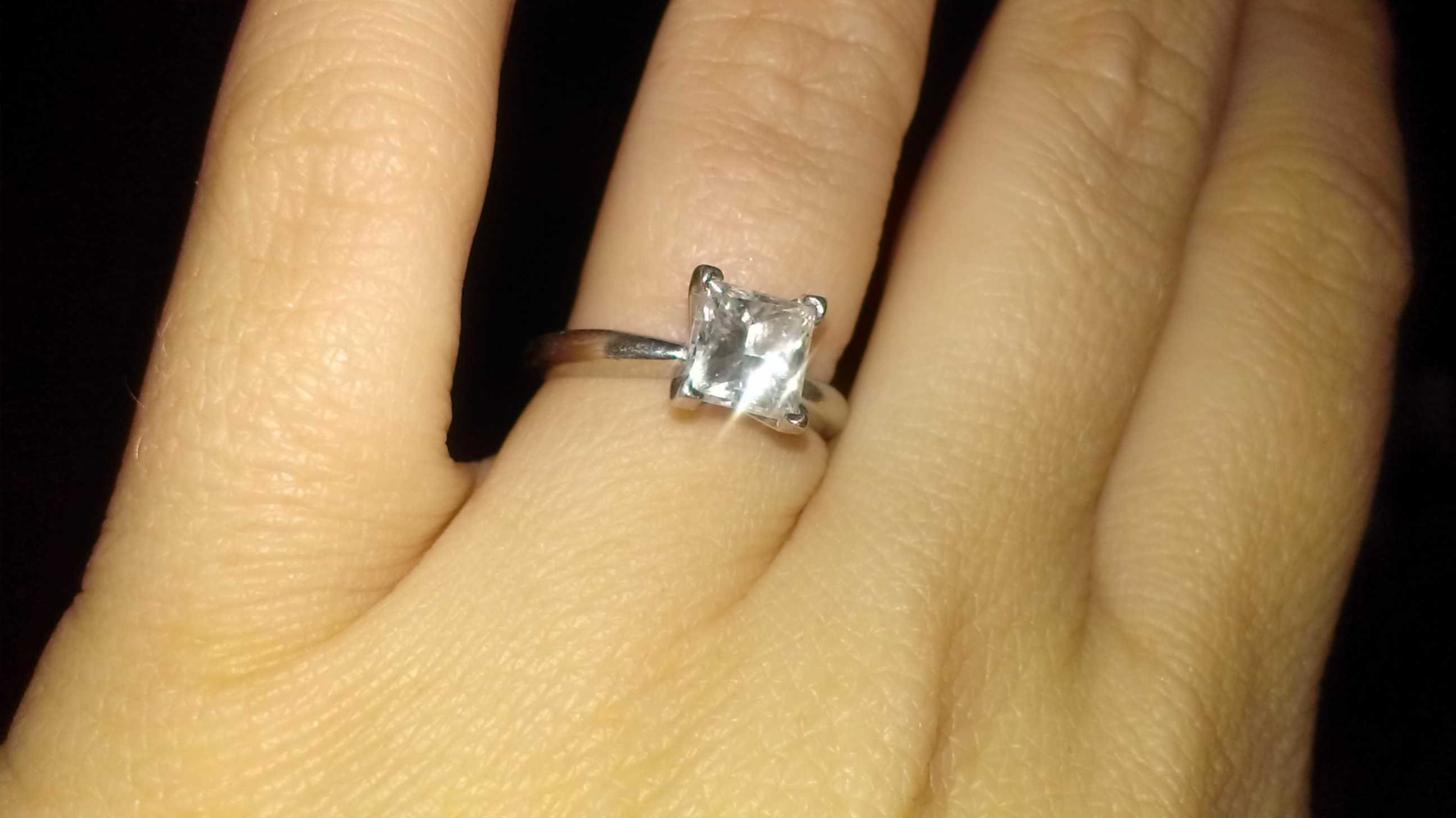d7f5536bc82 1.5 CT Princess Cut Diamond Solitaire Engagement Ring set in a 4-prong  Platinum Band