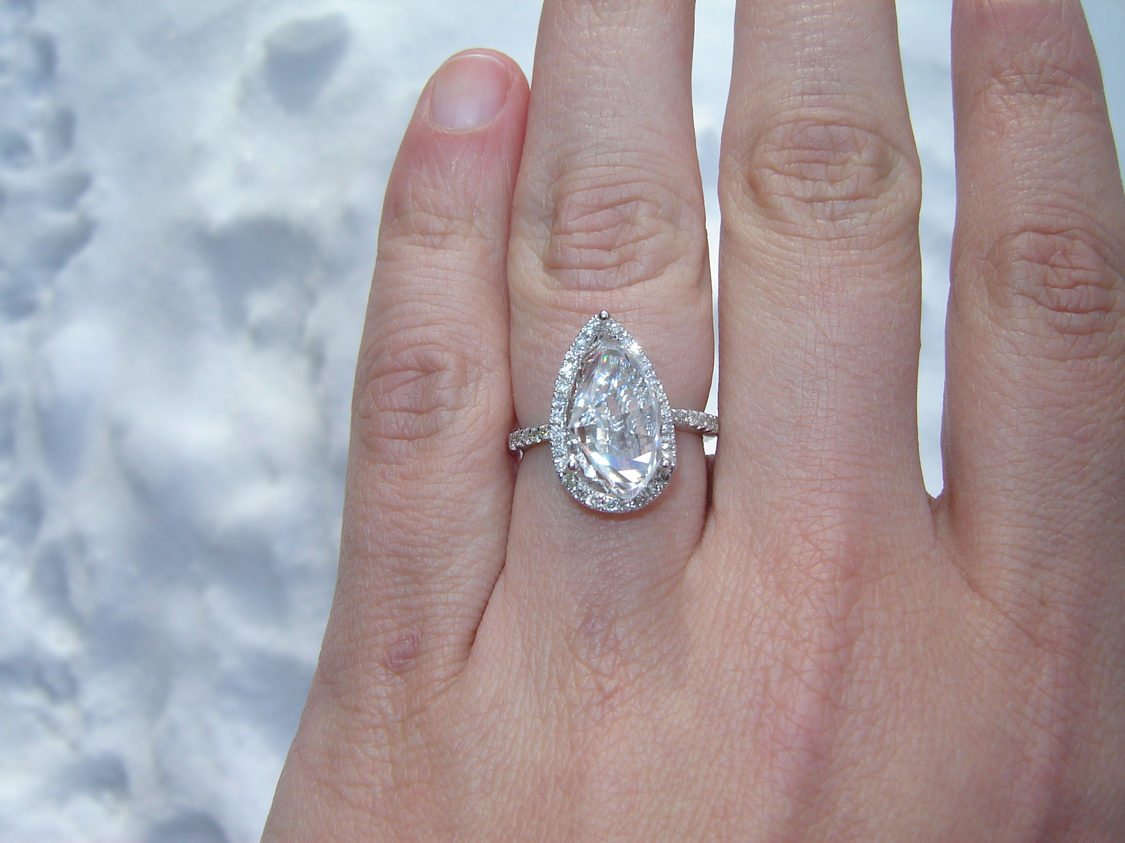3 09 Carat Pear Shaped Diamond Engagement Wedding Ring With Pave Halo Center Stone 2 64ct 13 69 X 7 68 G H Color Si2 Clarity I Do Now I Don T