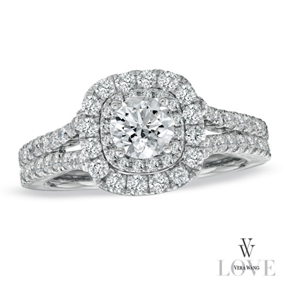 Vera Wang Love Collection Engagement Ring W Free Matching Wedding Ring Size 5