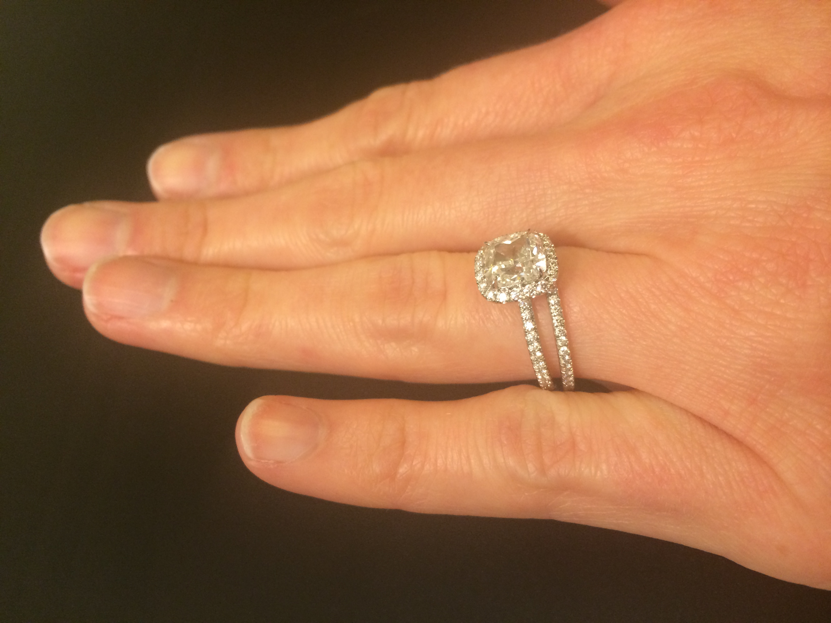 Harry Winston Cushion Cut Micropave 1 5 Ct Engagement Ring Wedding Band I Do Now I Don T