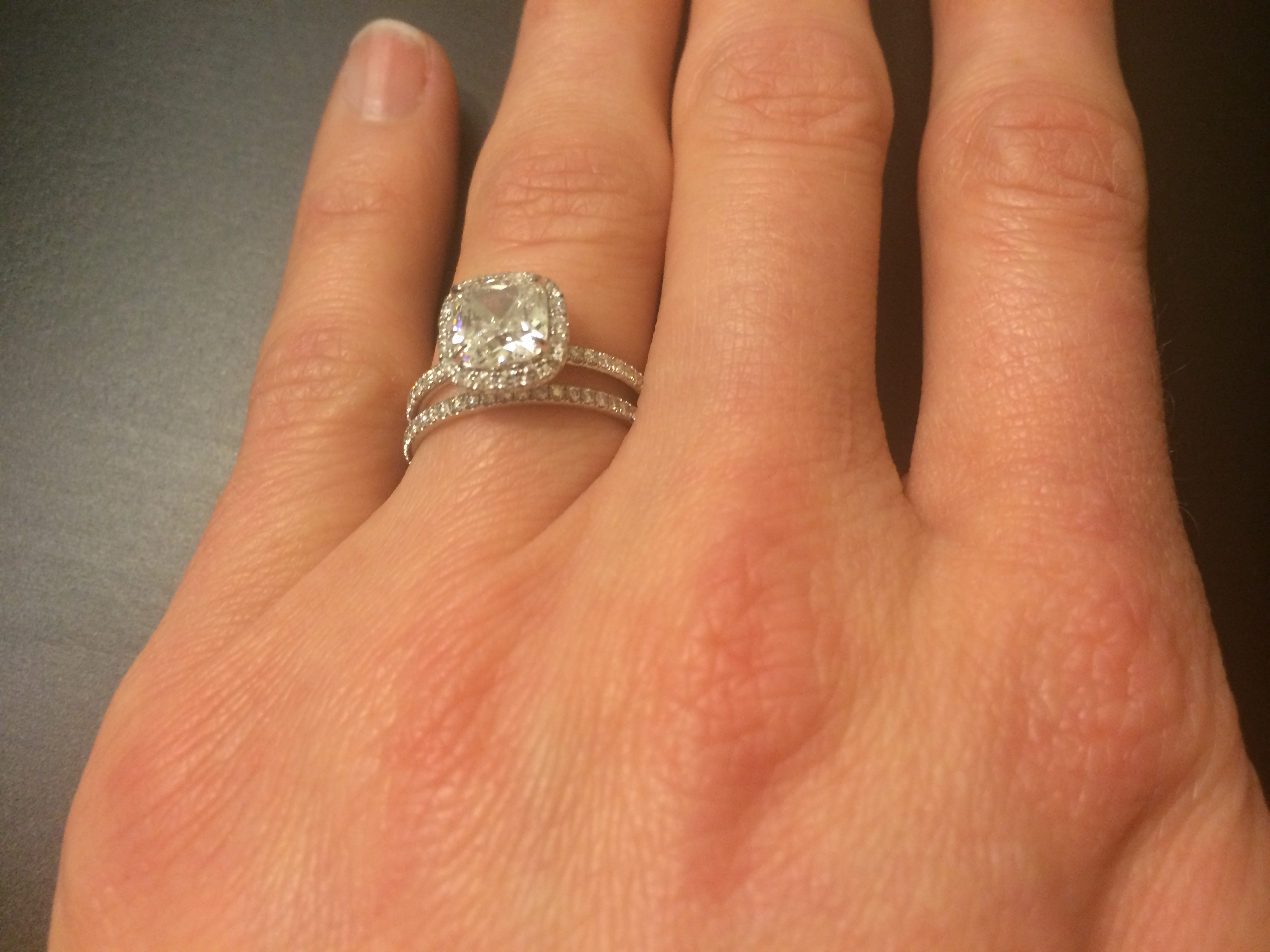 Harry Winston Cushion Cut Micropave 1 5 Ct Engagement Ring Wedding Band