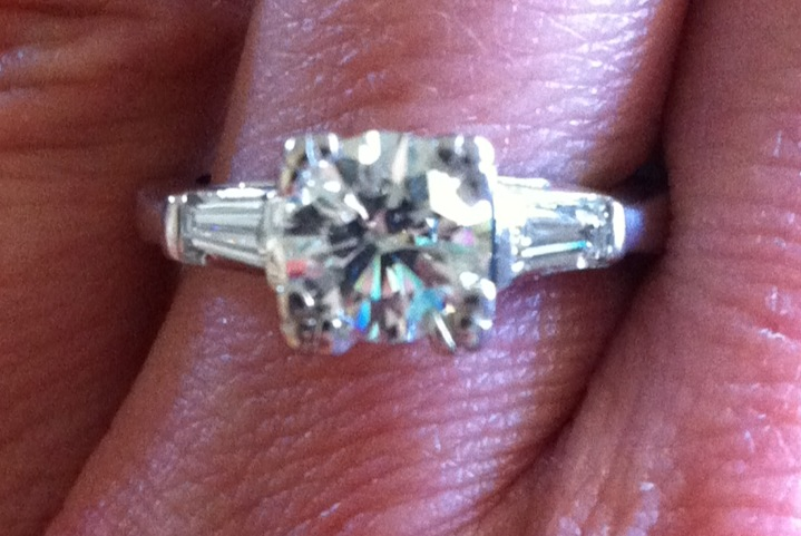 Beautiful Engagement Ring Size 4 5 1 Carat Round Cut Diamond With 2 24 Carat Baguette Diamonds On A 14k White Gold Ring I Do Now I Don T
