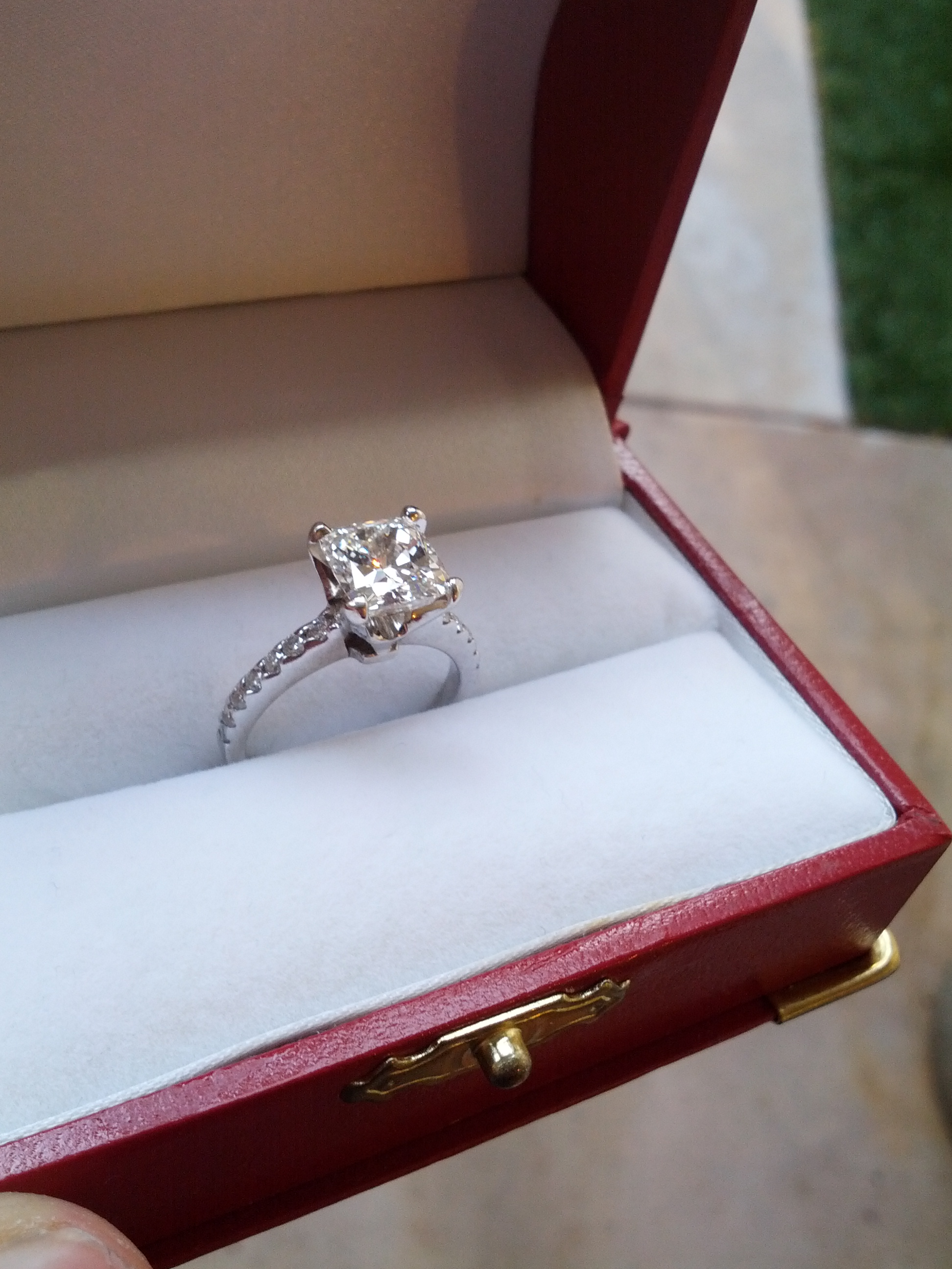 Reserved For Lance Not For Sale 2 02 Carat H Color Vs1 Cushion Cut Engagement Ring With Wedding Band