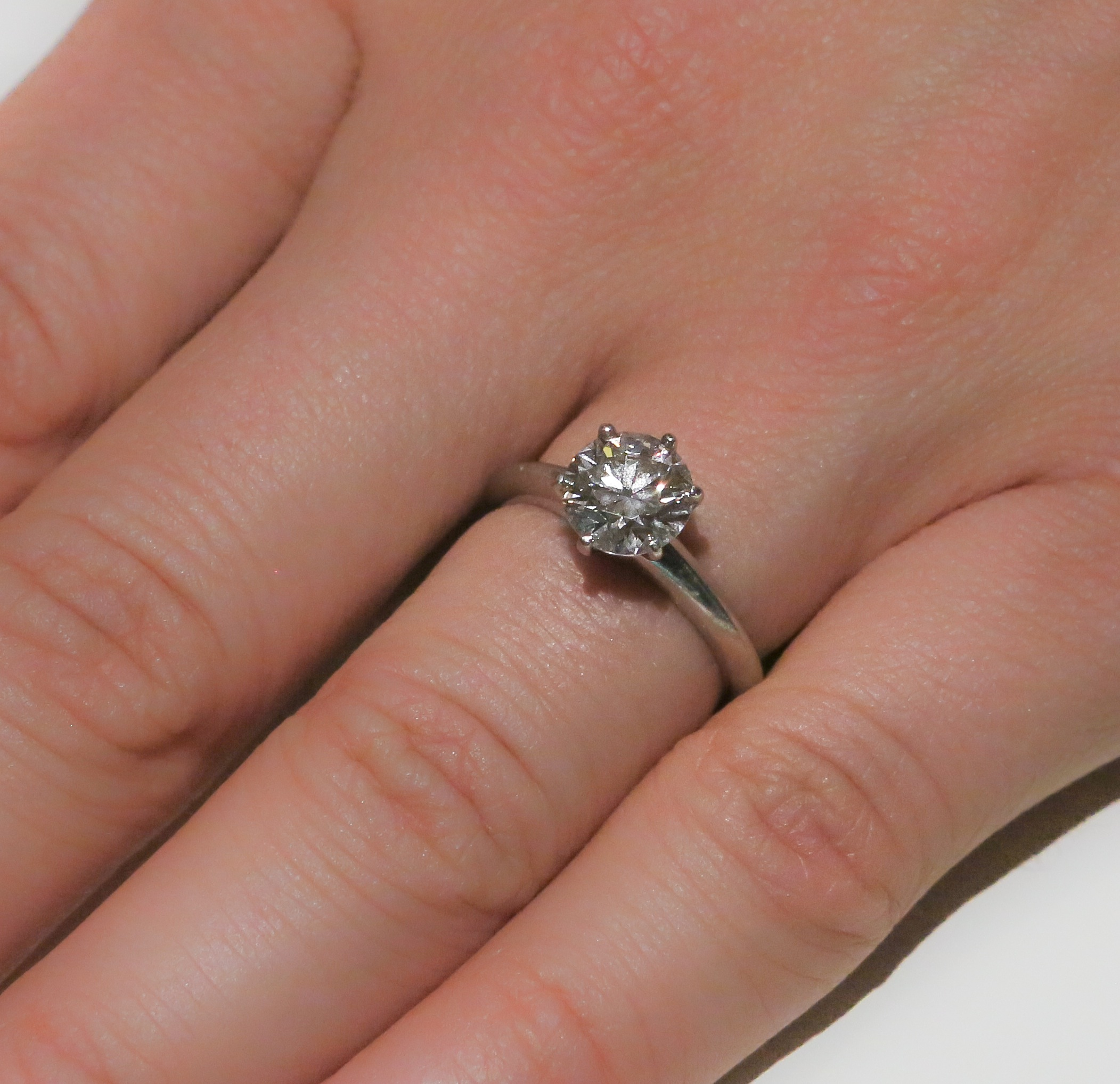 f93b0f0aa Tiffany & Co 1.55ct Classic Solitare Ring in Platinum. Tiffany appraisal is  $31,600.