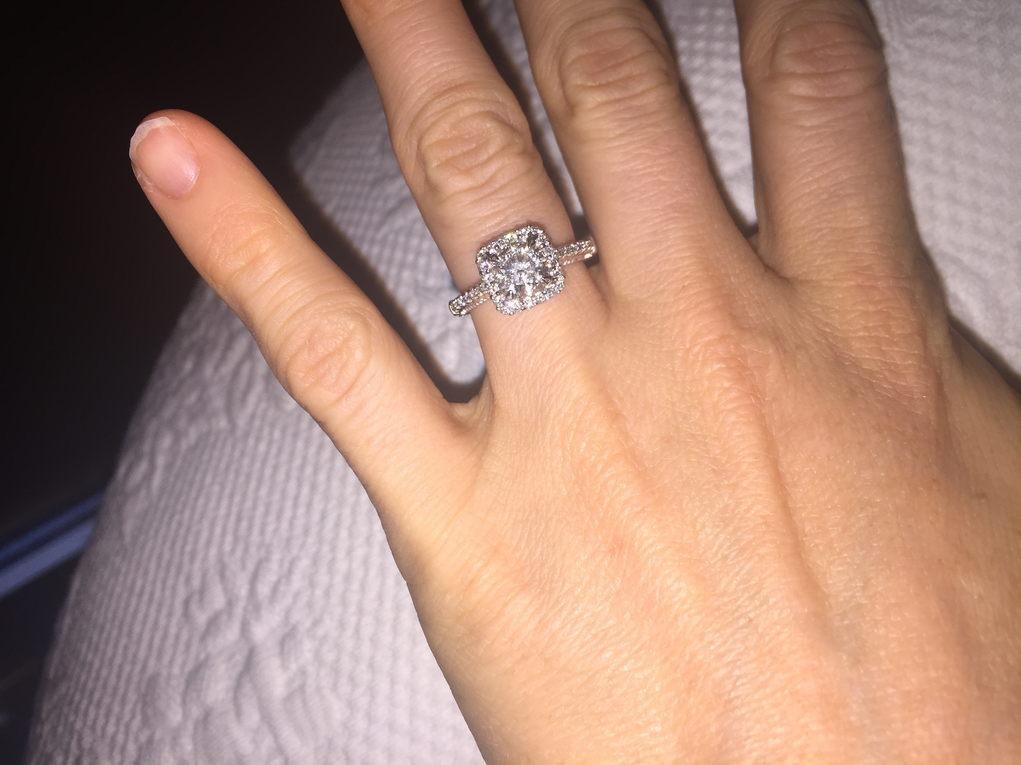 This is an image of Verragio Engagement Ring with Wedding Band. Check out the very beautifully intricate setting Verragio is known for!