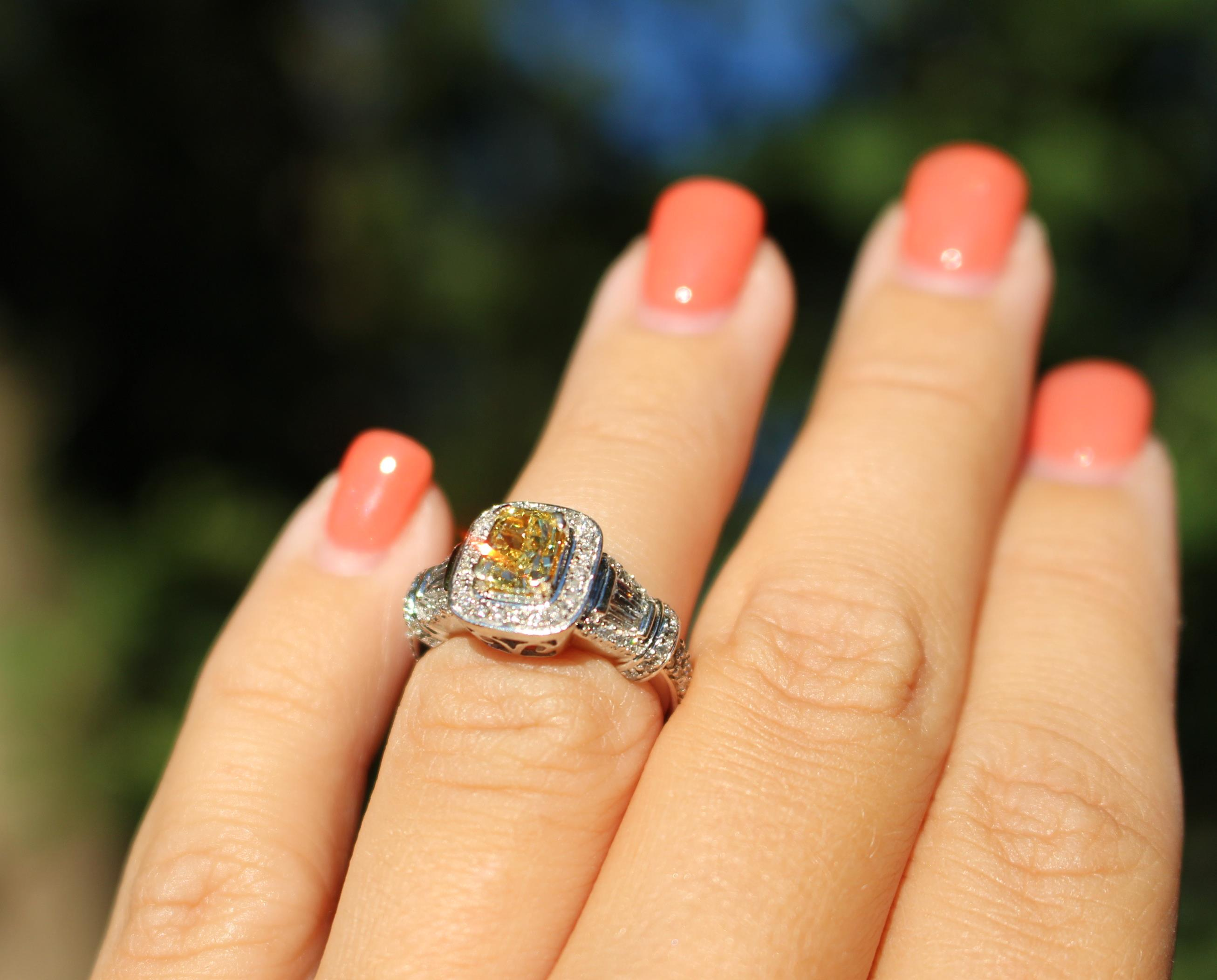97fd19246ec51 2 Carat Fancy Yellow Diamond Engagement Ring