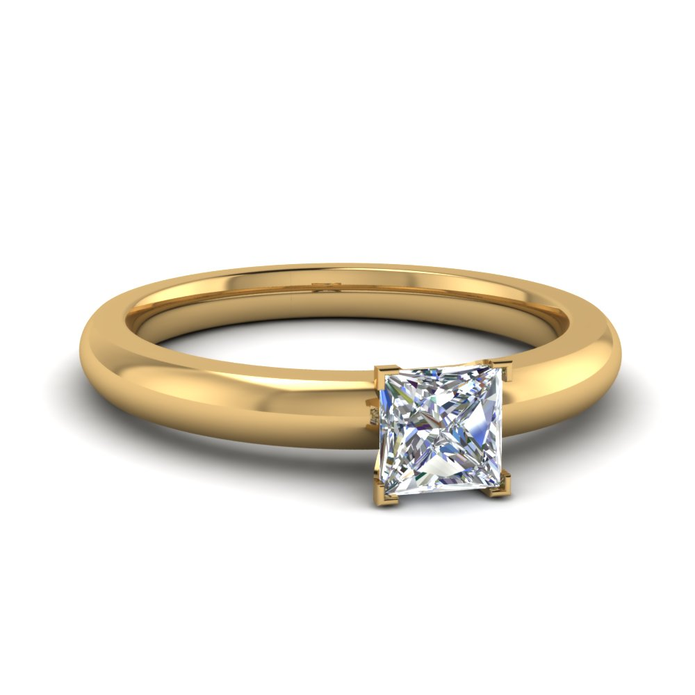 0961484c5d2 1 Carat Princess Solitaire Diamond Engagement Ring in 14k Yellow Gold