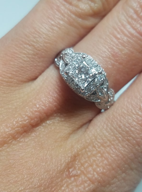 Neil Lane Diamond Engagement Ring 1 25 Ctw Princess And Round Cuts Incredible Brilliance 14k White Gold I Do Now I Don T