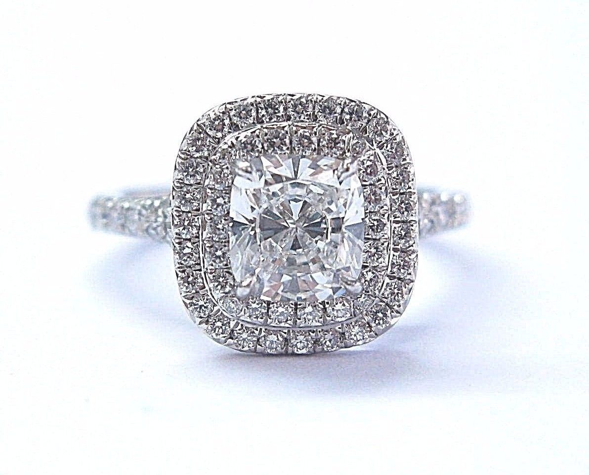 Tiffany Co Platinum Cushion Cut Diamond Soleste Engagement Ring 1 43ct F Vvs1