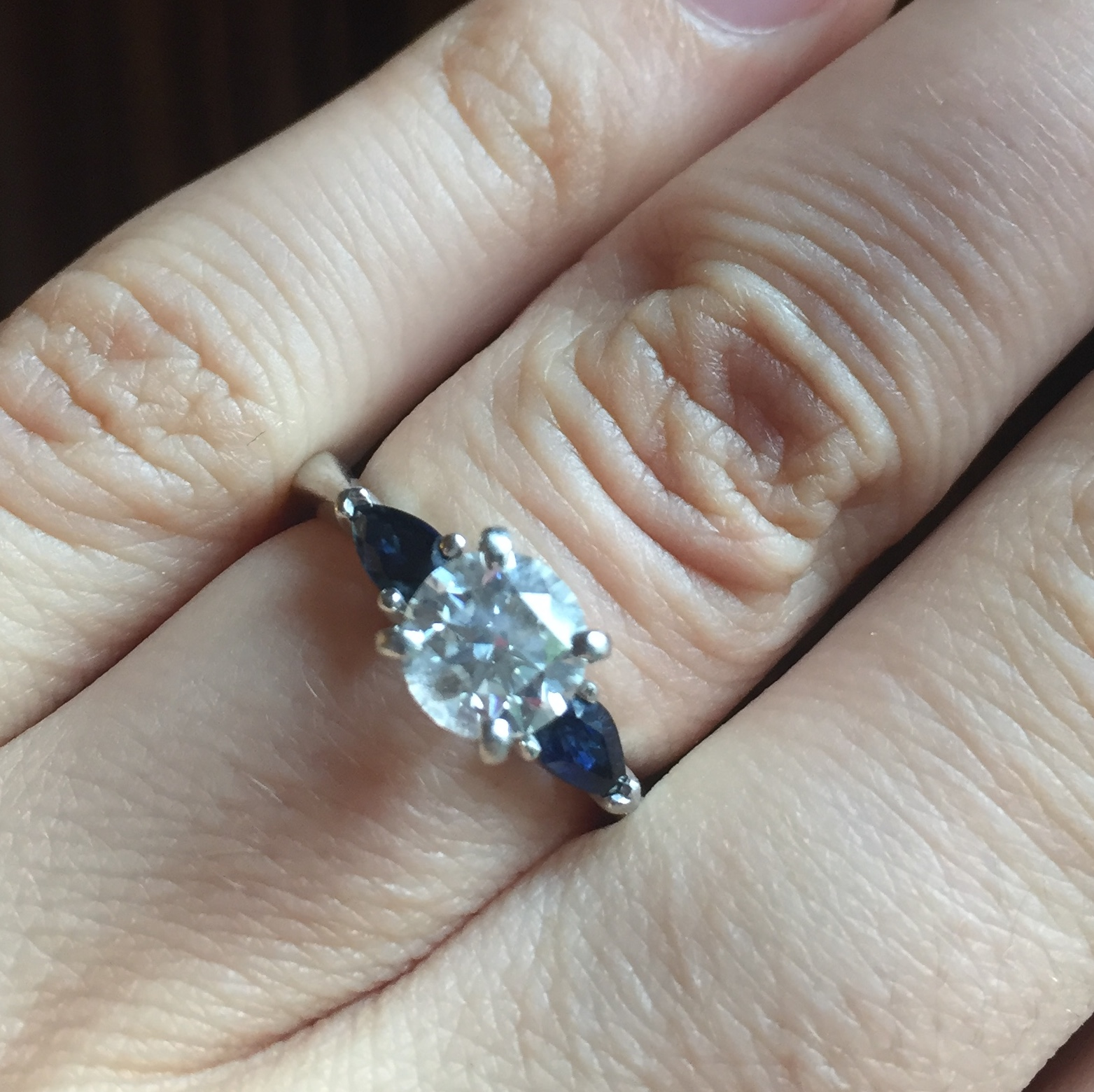 Blue Nile High Quality Gia Certified Diamond 1 00 Ct With Sapphires Set In Platinum Band I Do Now I Don T