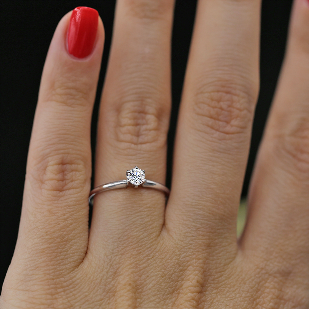 Tiffany Style White Gold Engagement