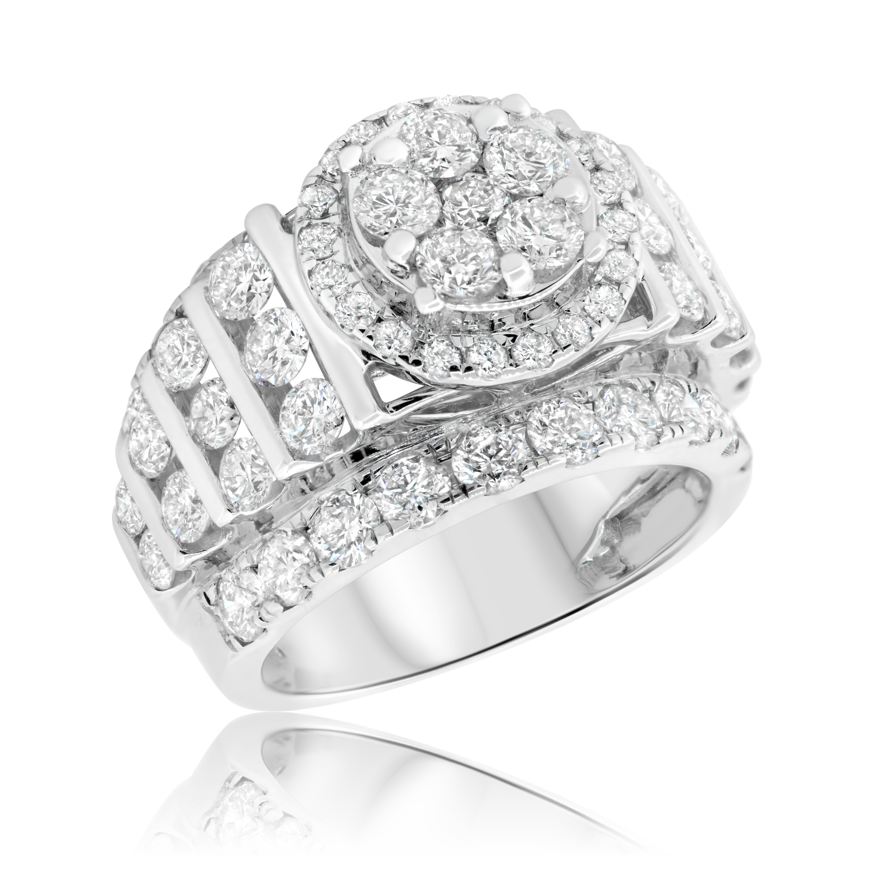 2af825260ac 4 CT. T.W. Diamond Round Cluster Engagement Ring 14K White Gold