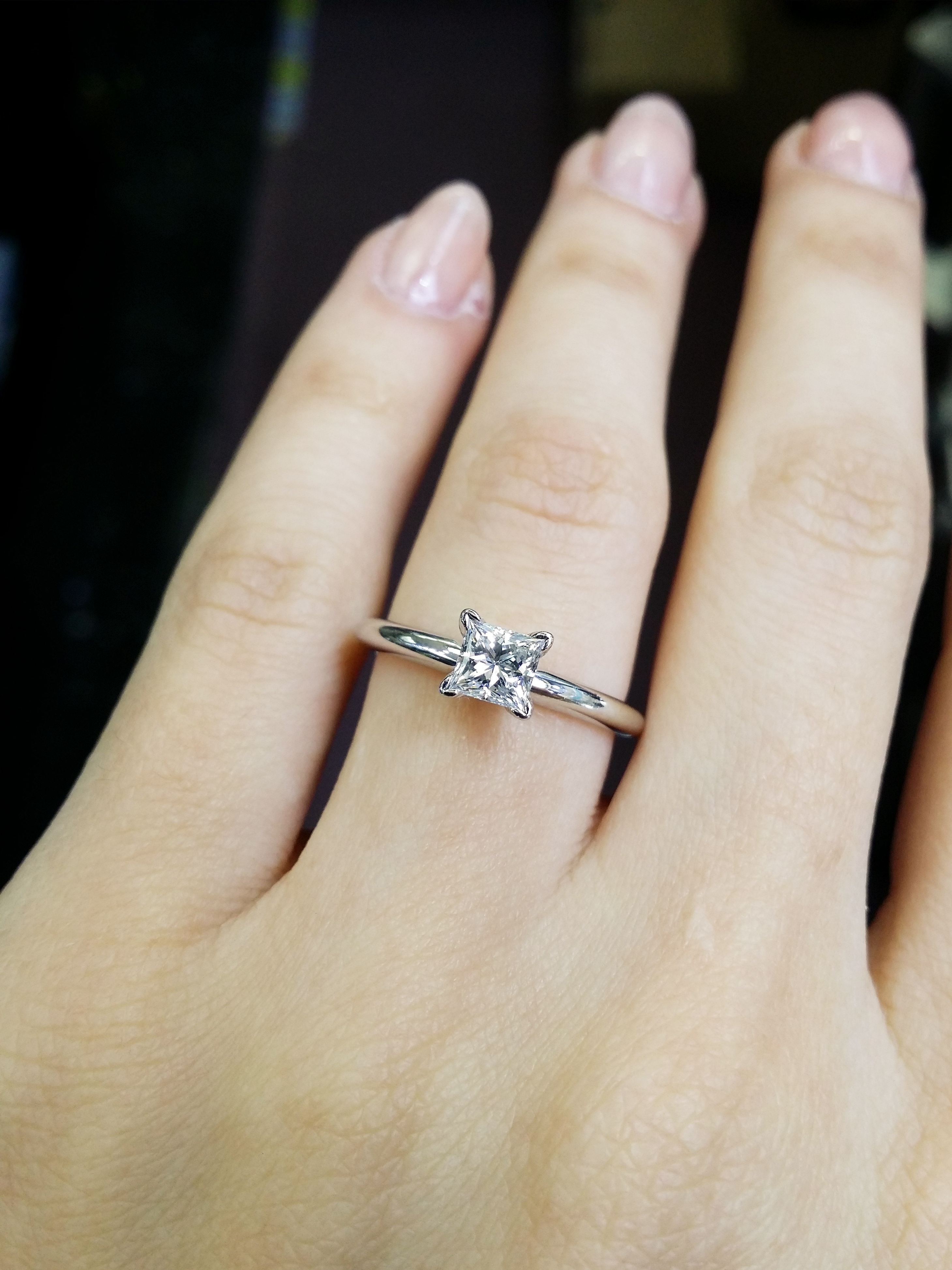 Delicate solitaire princess cut