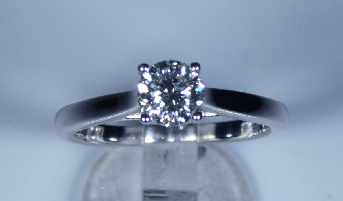 a2a2792b1302a8 Ggi Certified Canadian Blossom Cut 18k White Gold 0 50ct Diamond. Trabert  Goldsmiths 25cts Diamond Baby Solitaire Ring
