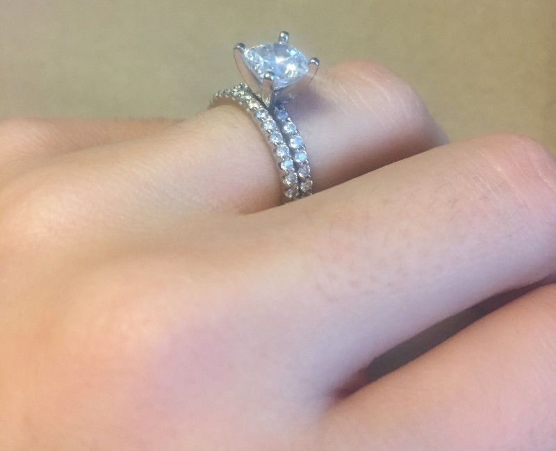 Gia Certified Cushion Cut Solitaire Engagement Ring 18k White Gold Micro Pave Setting Matching Wedding Band Appraised Value 14 000 I Do Now I Don T