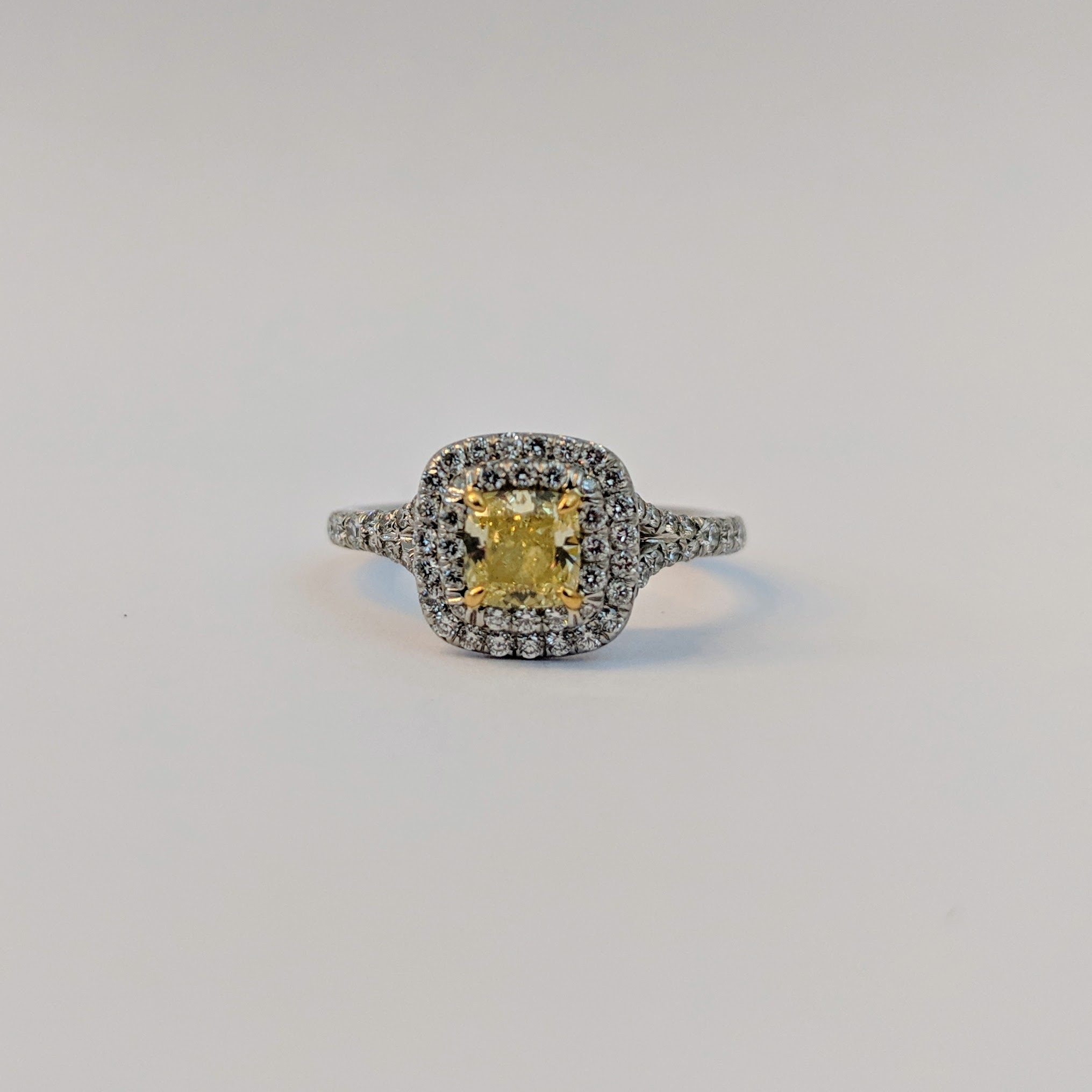 db1399368be Soleste Cushion Cut Yellow Diamond Halo Engagement Ring in Platinum. Tiffany    Co. Tiffany   Co. Tiffany   Co.