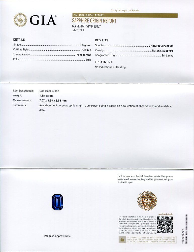 GIA Certified Natural 1.18ct