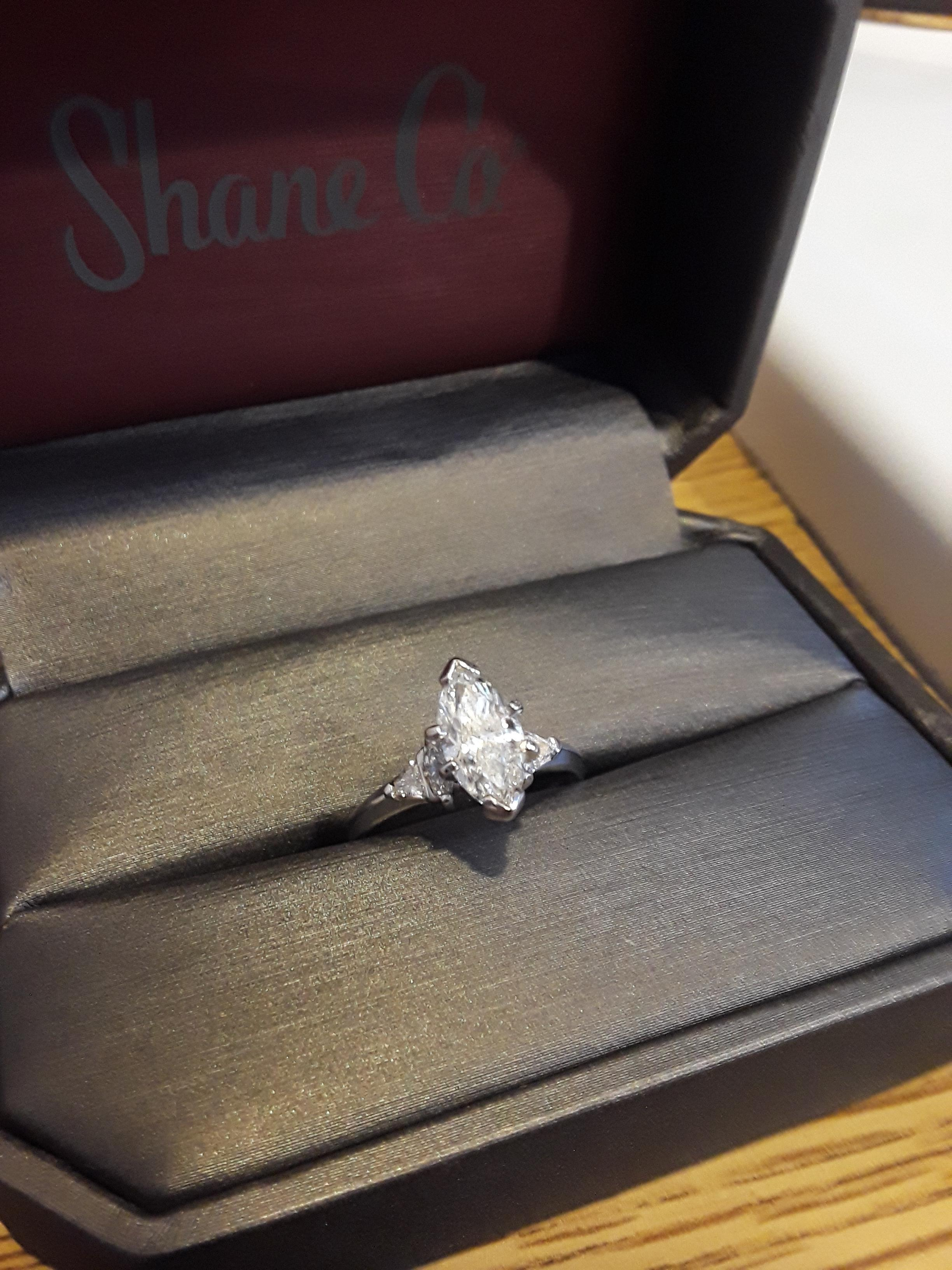 14k White Gold Ring With 1 48carat Marquise And 14k White Gold Diamond Wedding Band Mens Band Sold Separately I Do Now I Don T
