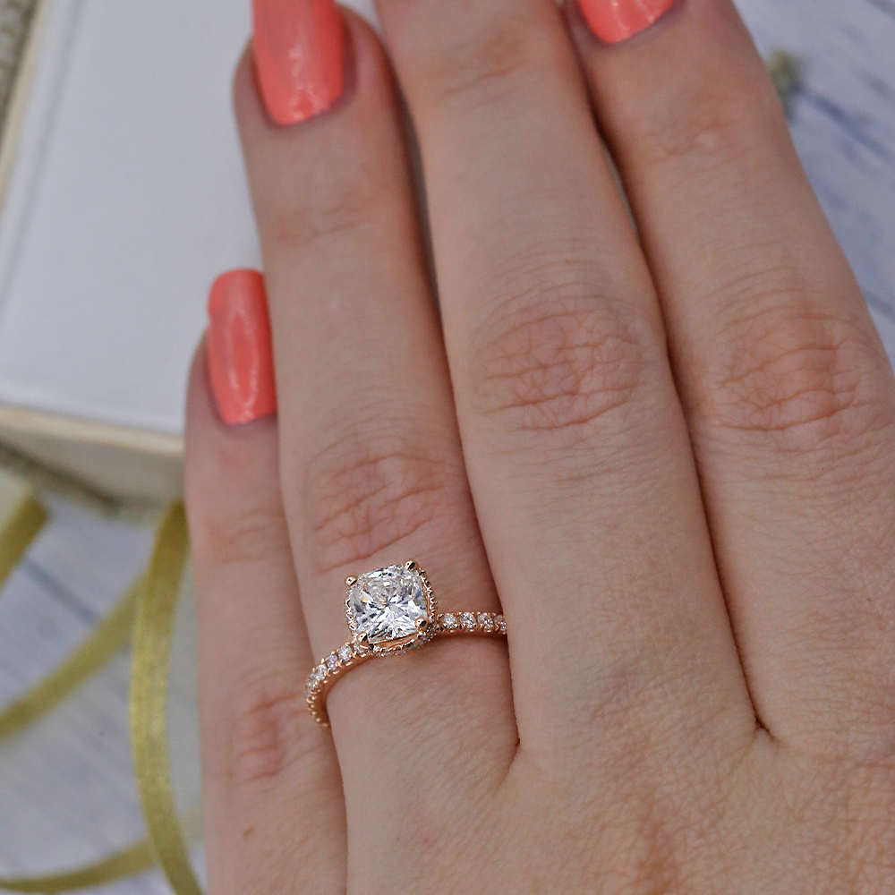 Engagement Ring With Center Cushion Cut 1 01ct Diamond Video