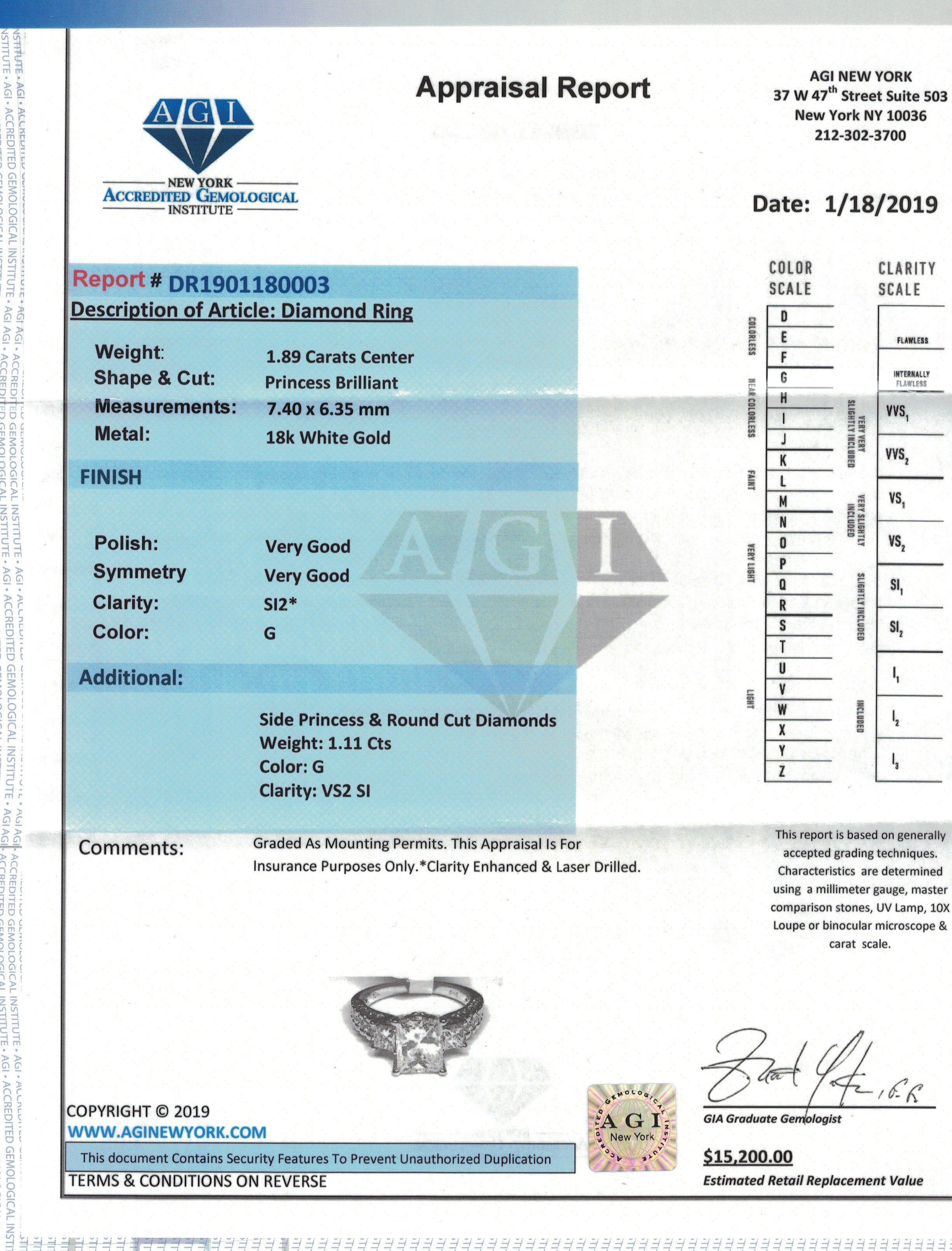 Certified 1.89 CT diamond