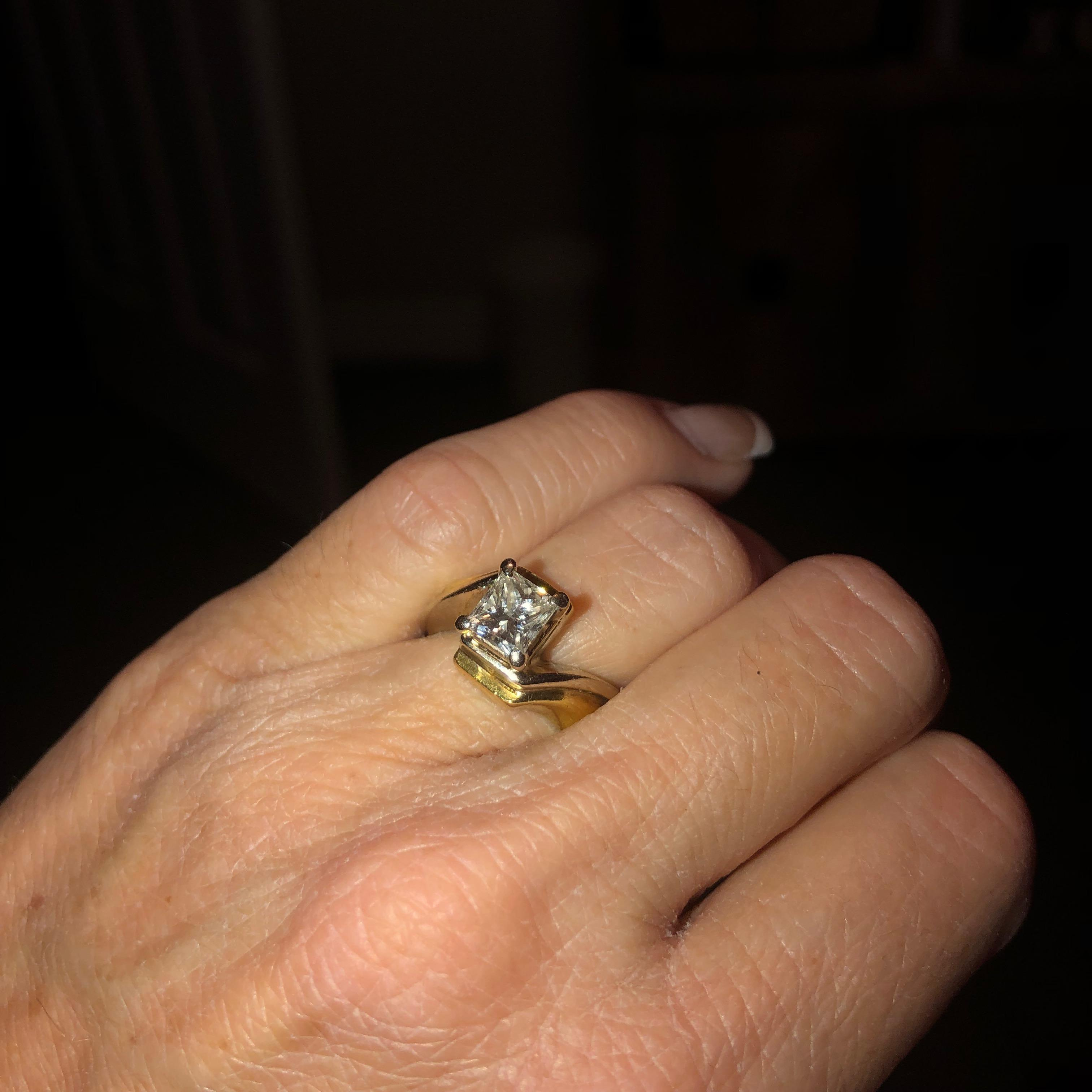1 Carat Princess Cut White And Yellow Gold Wedding Ring I Do Now I Don T