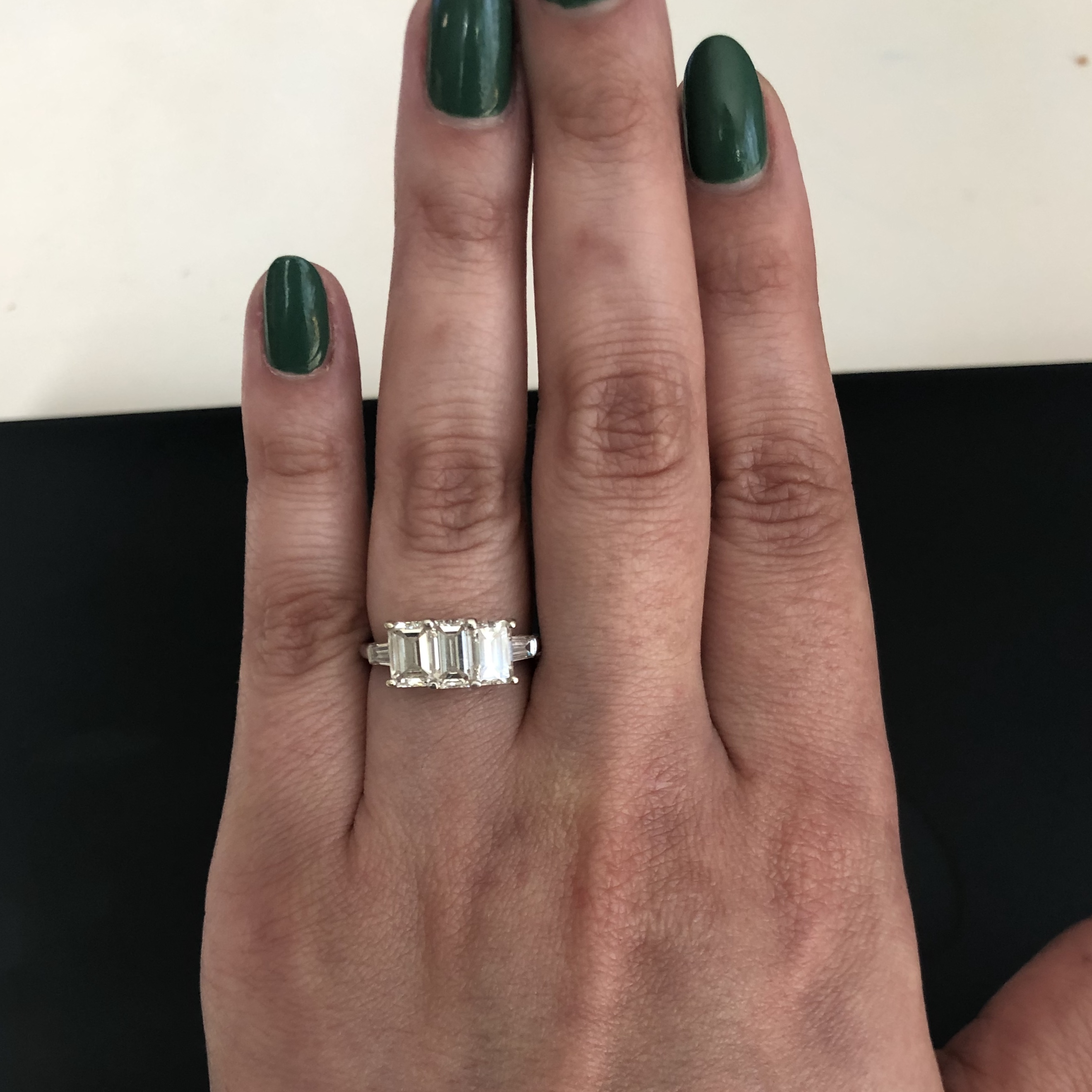 Vintage Emerald Cut Three Stone Ring In Platinum I Do Now I Don T