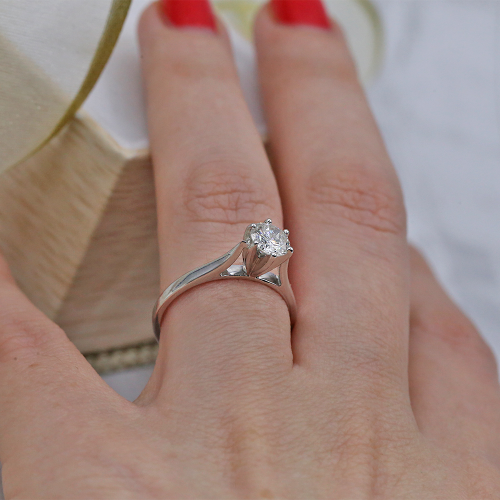 14k White Gold Solitaire