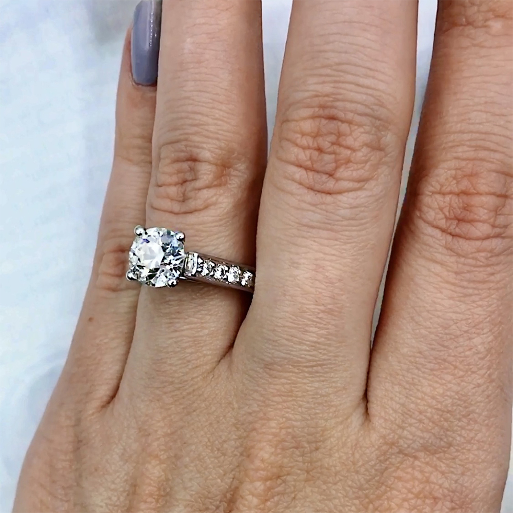Certified platinum engagement ring