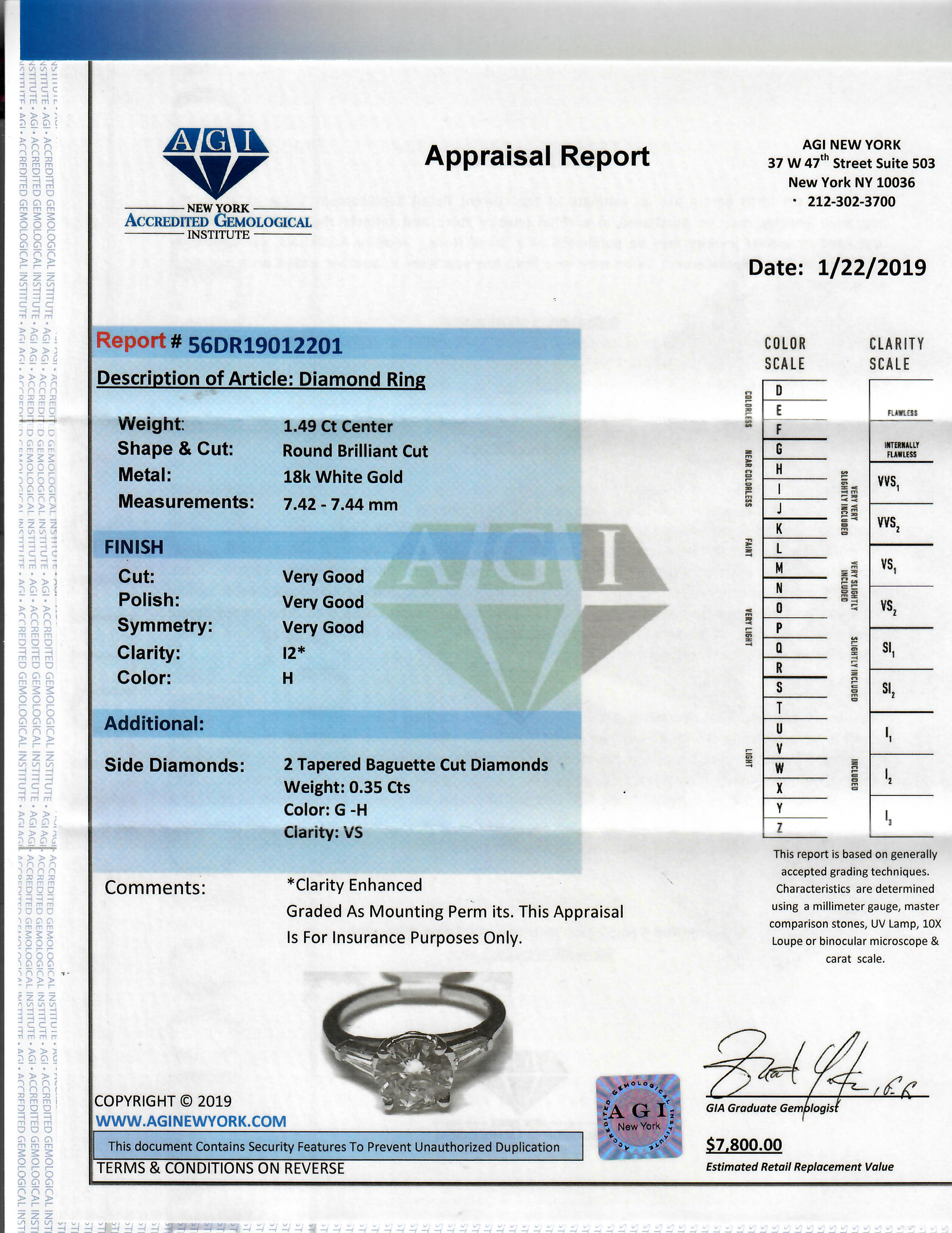 Certified Round and Baguette Diamond Engagement Ring