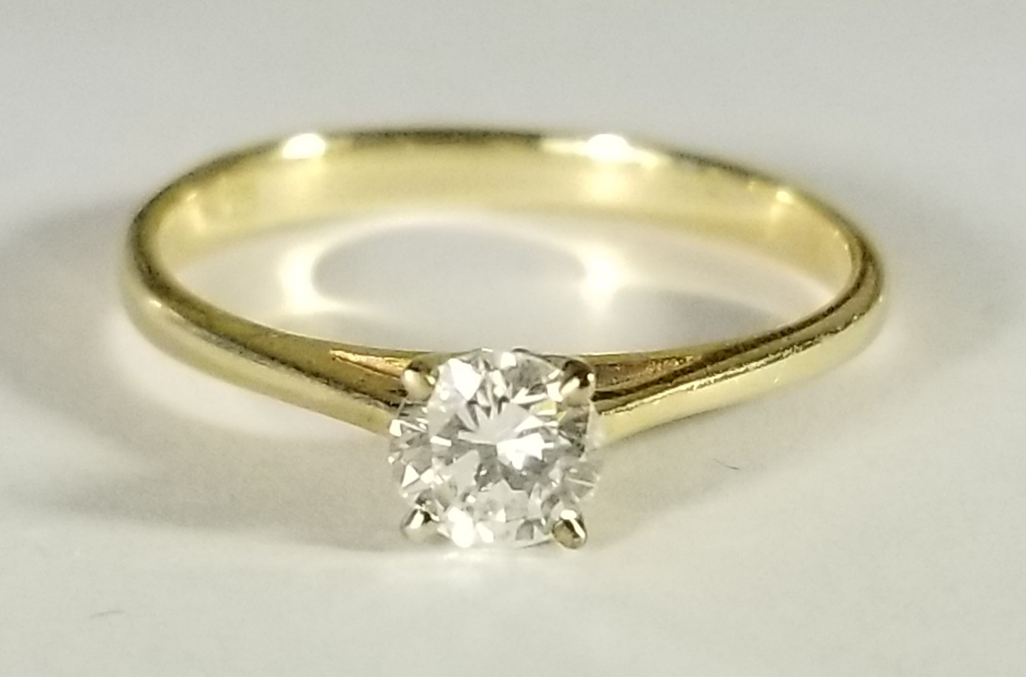 14k Yellow Gold Cathedral Style Diamond Solitaire Ring With Four Prong Yellow Gold Head 33 Ct Size 6 I Do Now I Don T