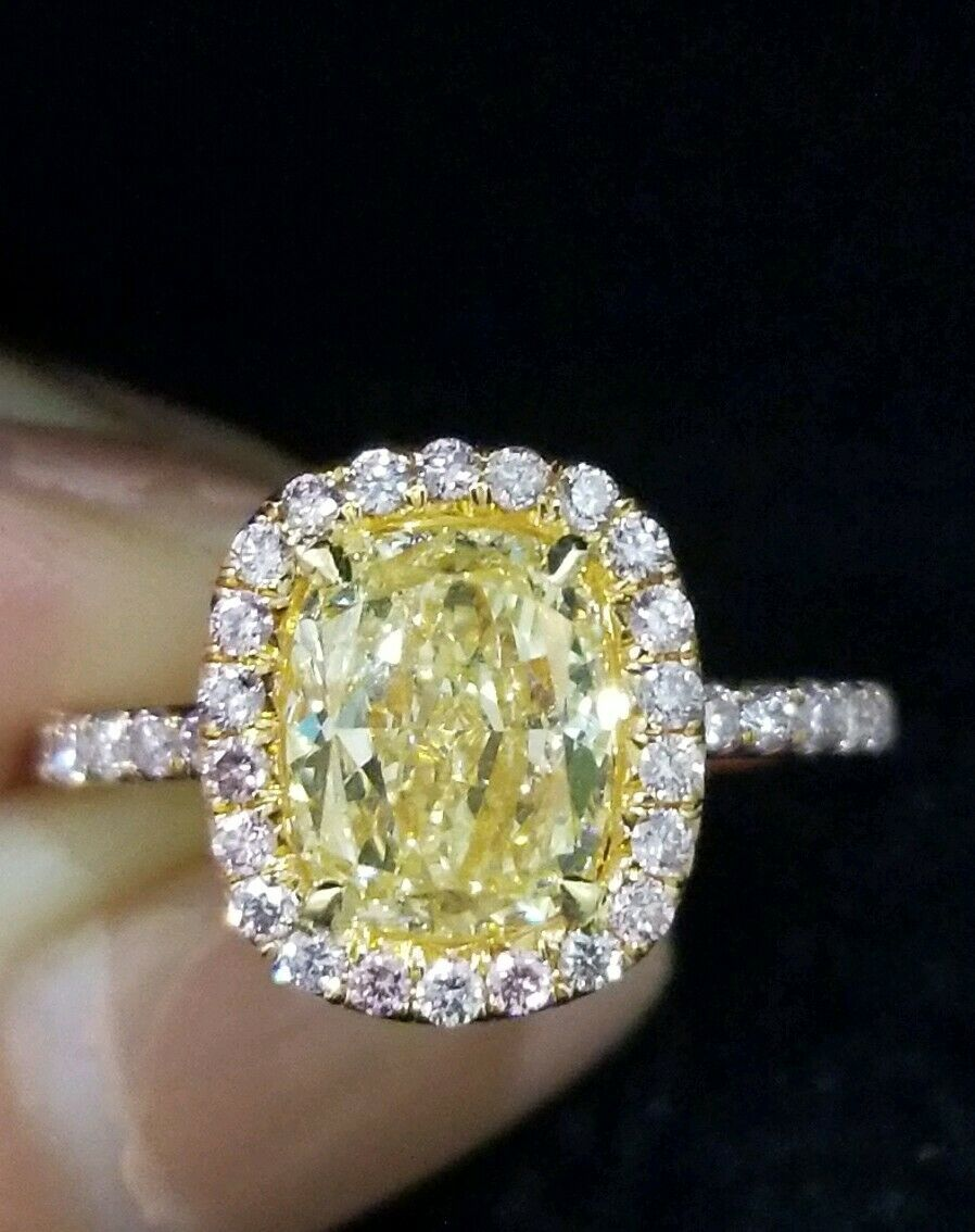 Video Gia 2 6ct Vs1 Fancy Yellow Elongated Cushion Cut W Fancy Pink Halo French Pave 18k Yellow Rose Gold