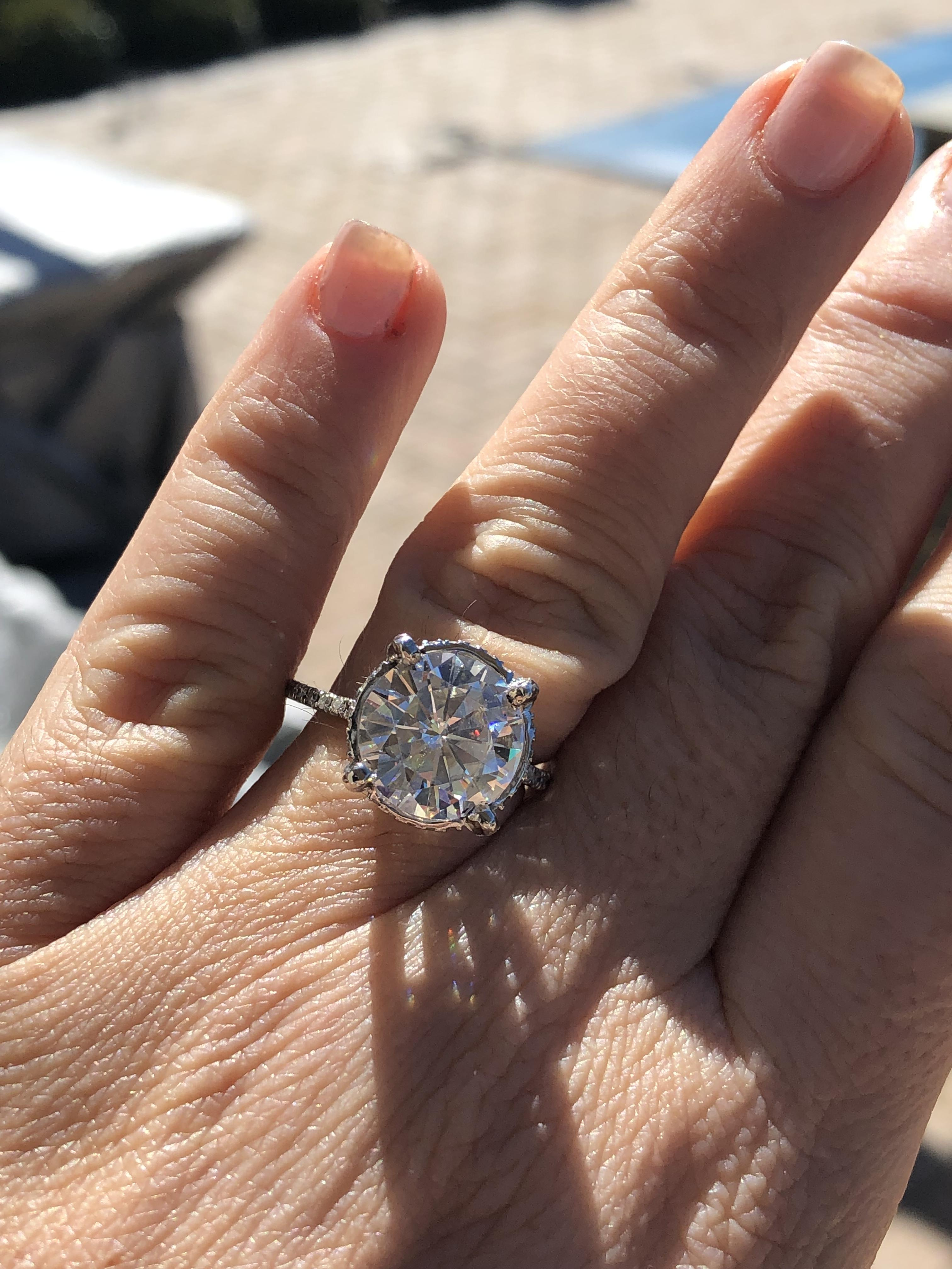 5 70 Platinum Custom made Forever one Moissanite ring