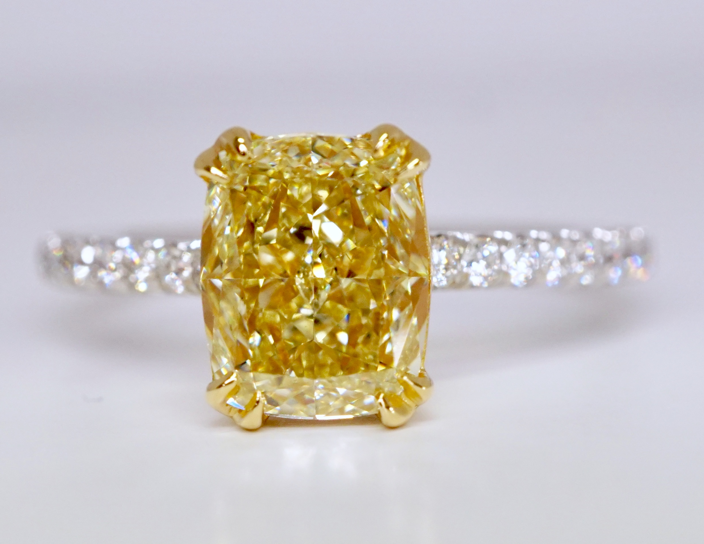 Platinum Cushion Cut Yellow Diamond Engagement Ring Wedding Ring Bridal Ring Promise Ring Anniversary Ring