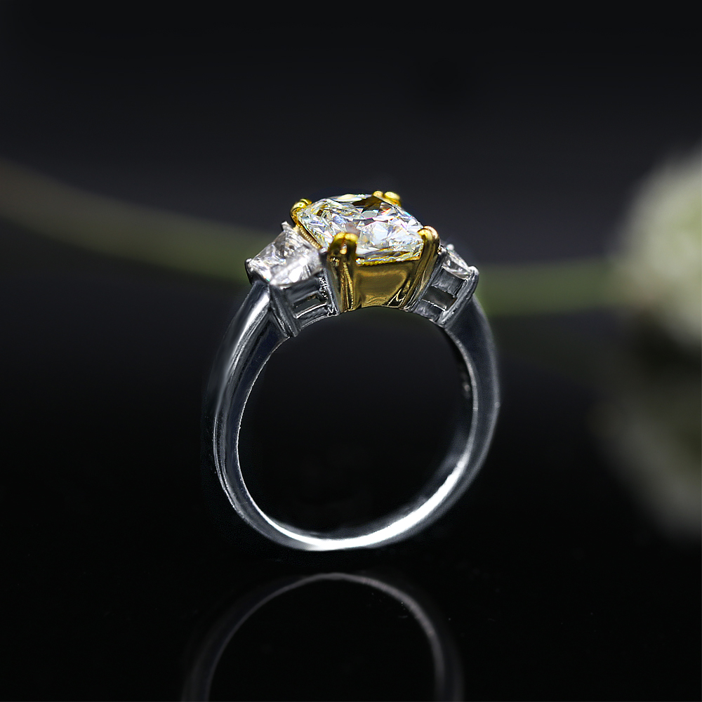 caf77e2ad7c Platinum & 18k Yellow Gold Cocktail Ring featured with 4.01ct TCW FLY  Diamonds