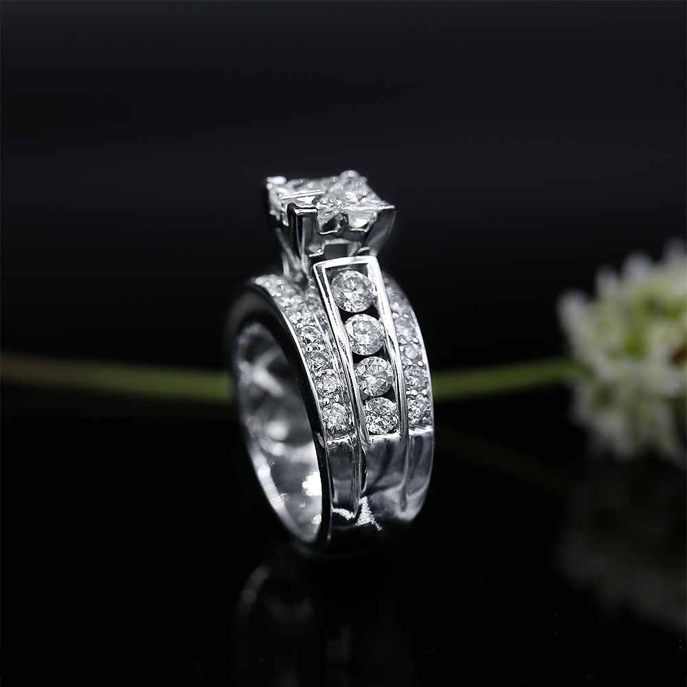 8285fec6a40 14k White Gold Engagement Ring featured with 1.50 ct TCW Diamonds ...