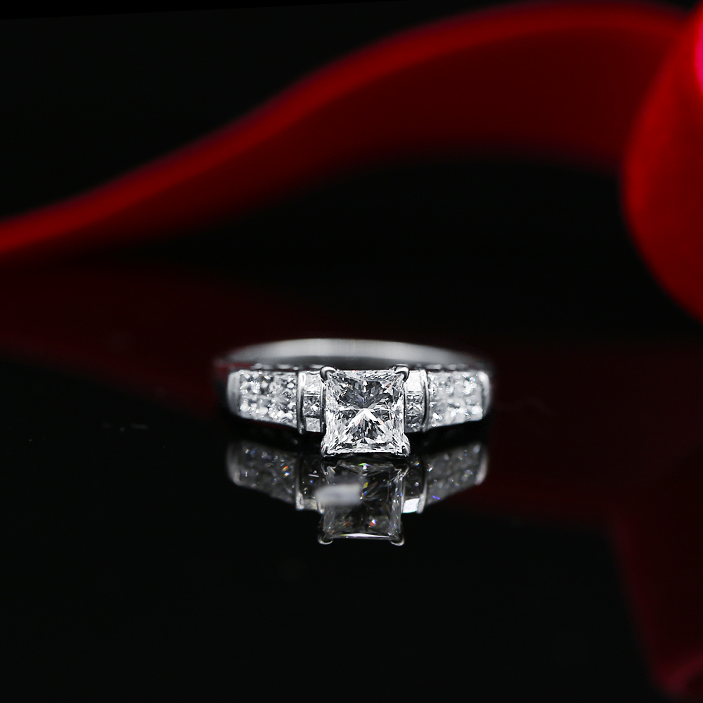 5dc312ce757 Elegant and Classic 18k White Gold Engagement Ring featured with 2.15ct TCW  Diamonds