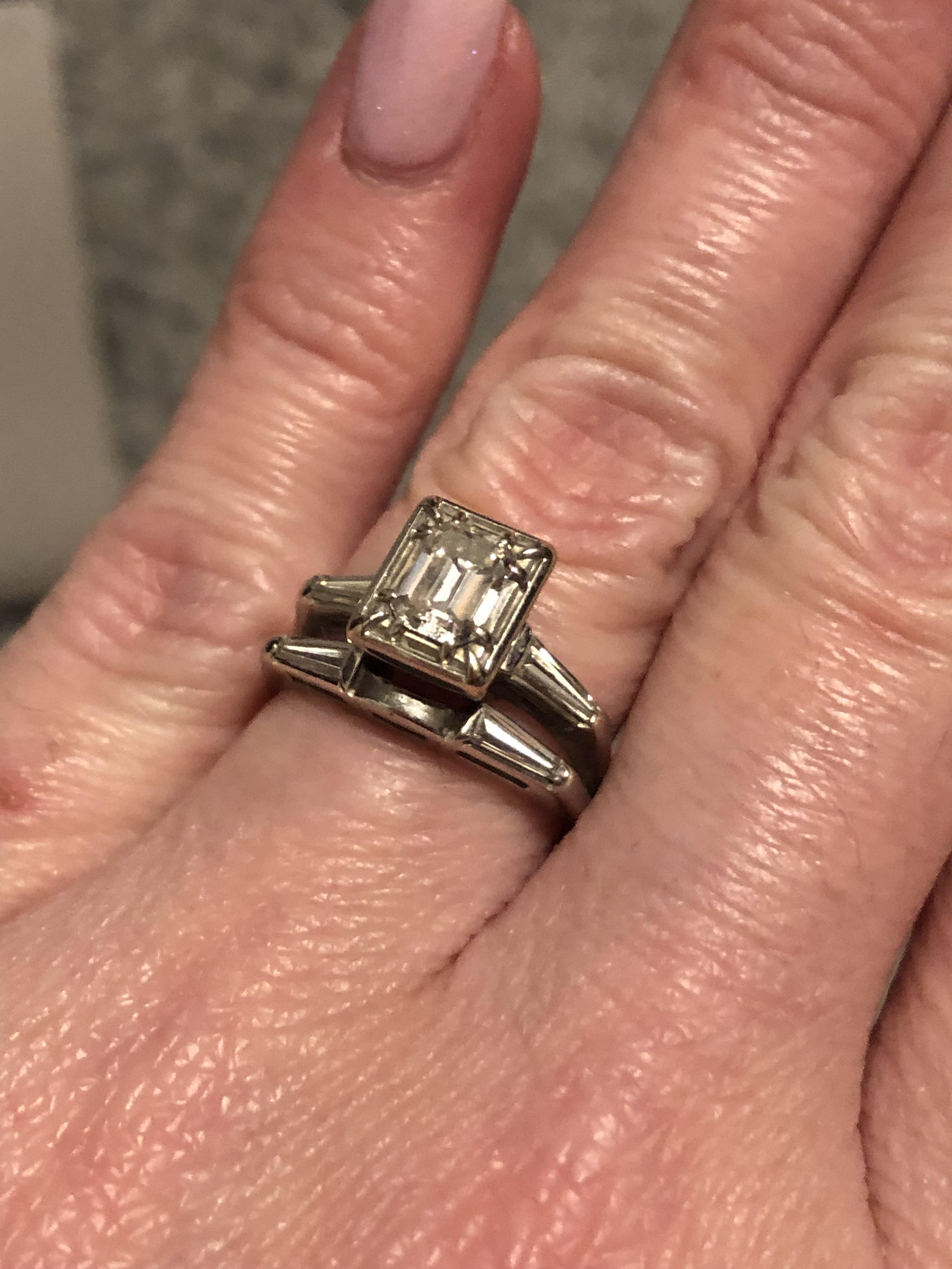 Vintage Art Deco engagement ring and band set