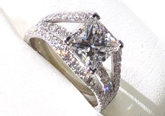 Gorgeous Engagement Ring 1 9ct Center Square Modified Brilliant Cut Surrounded By 72ct Of Round Brilliant Cut Diamonds I Do Now I Don T