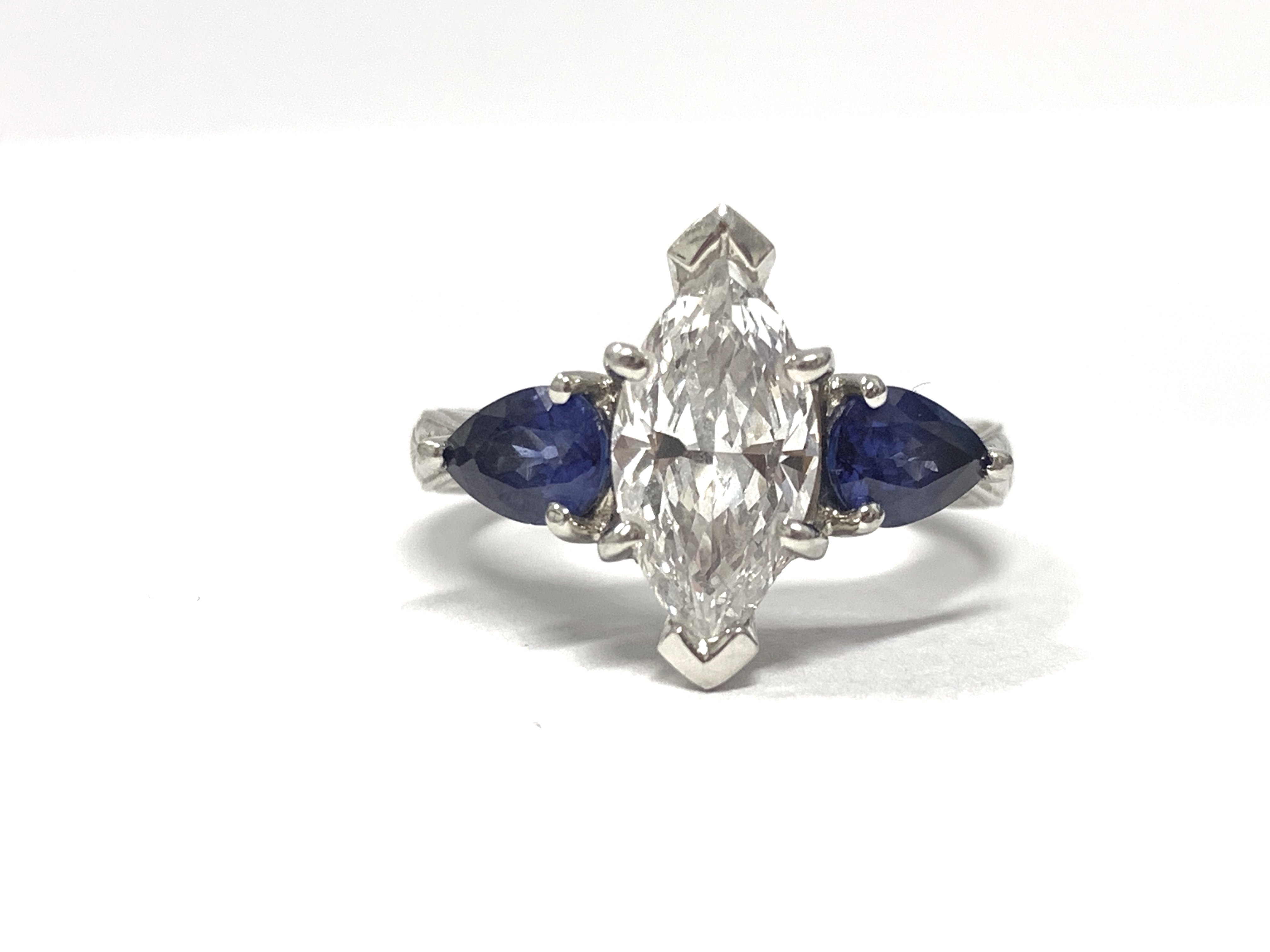 1 25 Ct Marquise Diamond Ring With Sapphire Accents I Do Now I Don T