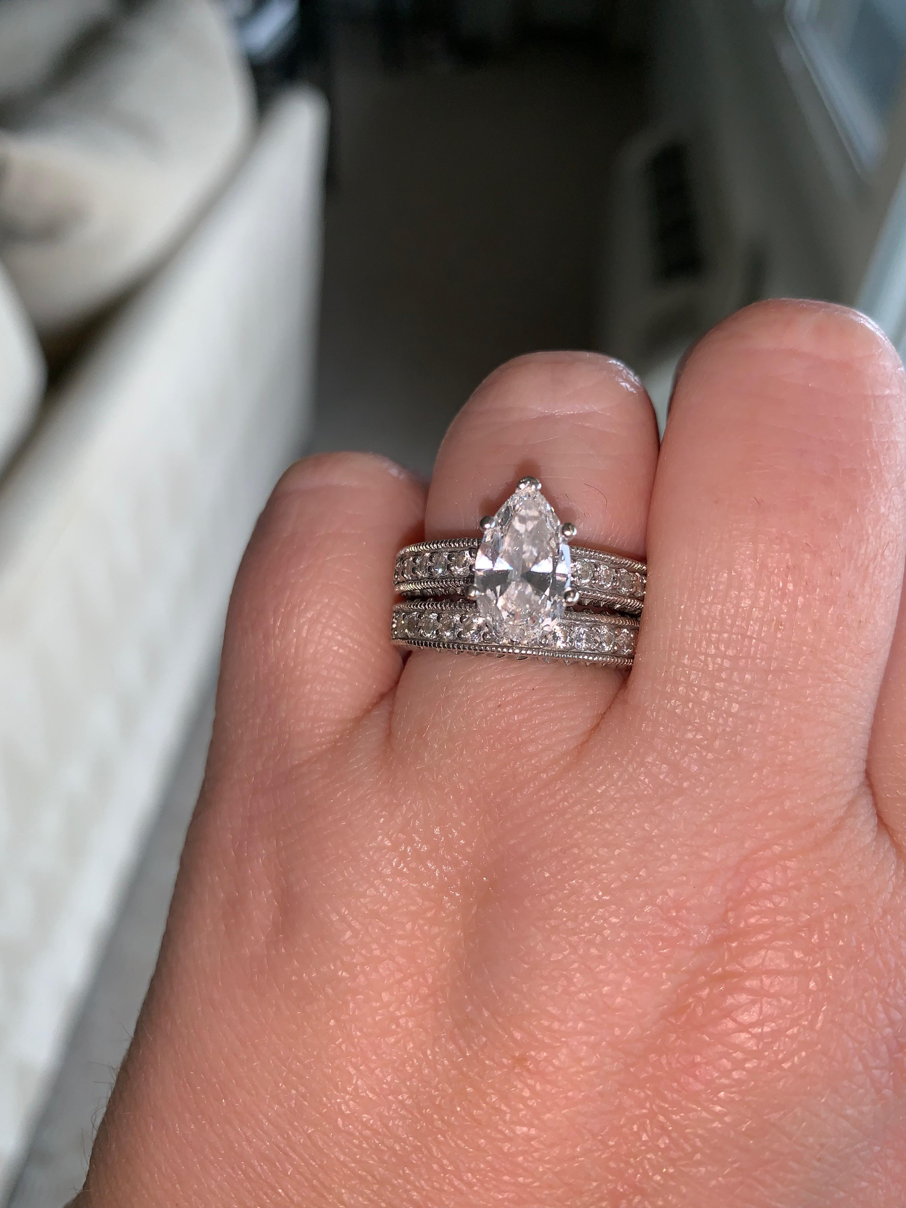 Engagement Ring And Wedding Band.Stunning Pear Engagement Ring Matching Wedding Band