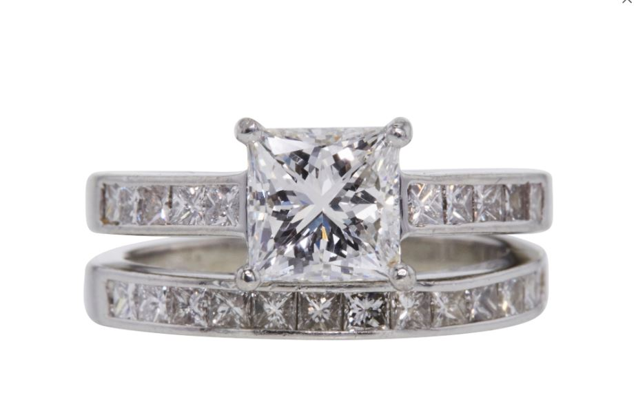 152979375 GIA certified, Princess Cut 1.51ct. E Color-Engagement Ring and ...