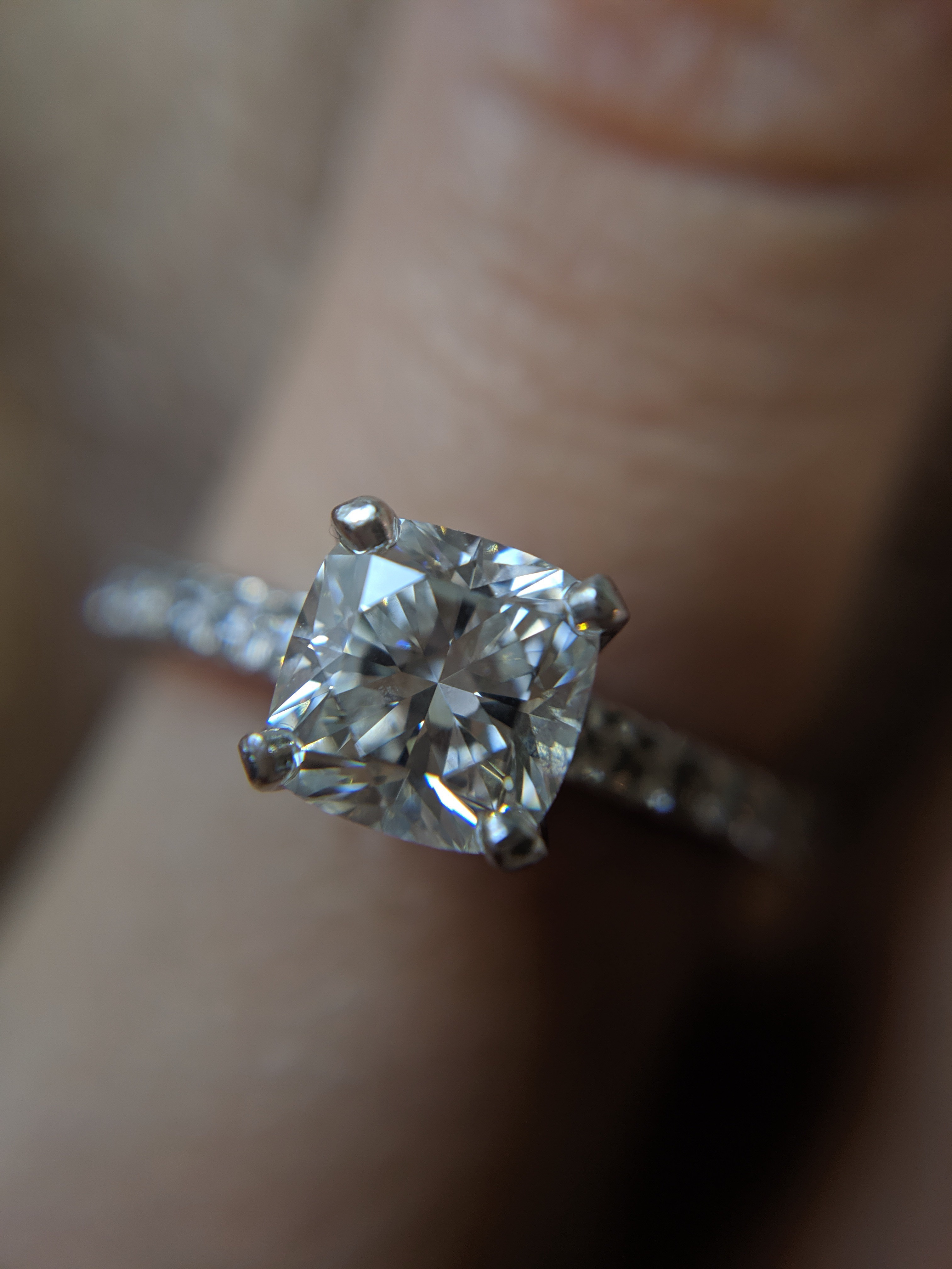Tiffany Novo 0 86 Carat Cushion Cut Engagement Ring With A Pave Diamond Platinum Band