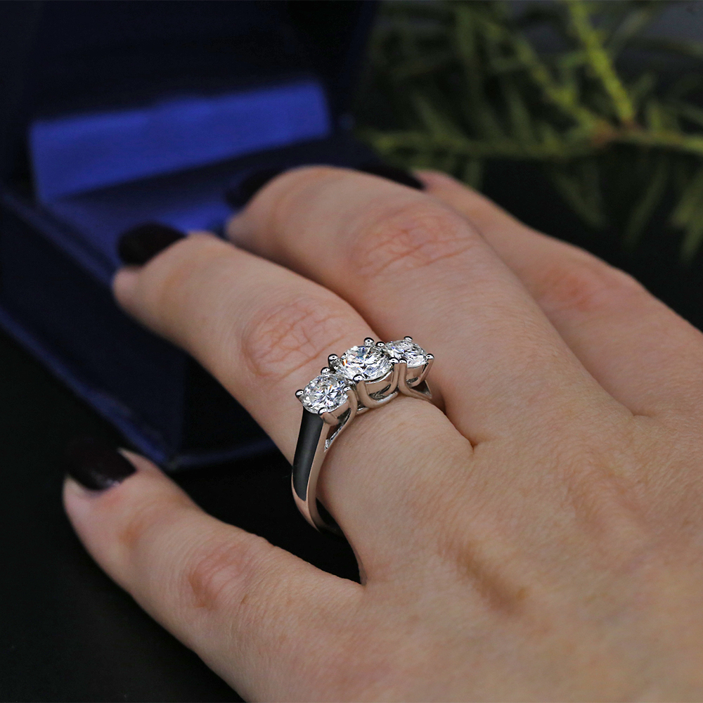 46cda5ad10f The Precious 14k White Gold Three-Stone Engagement Ring featured with 3  Natural DIAS with 2.00ct Total Diamond Weight