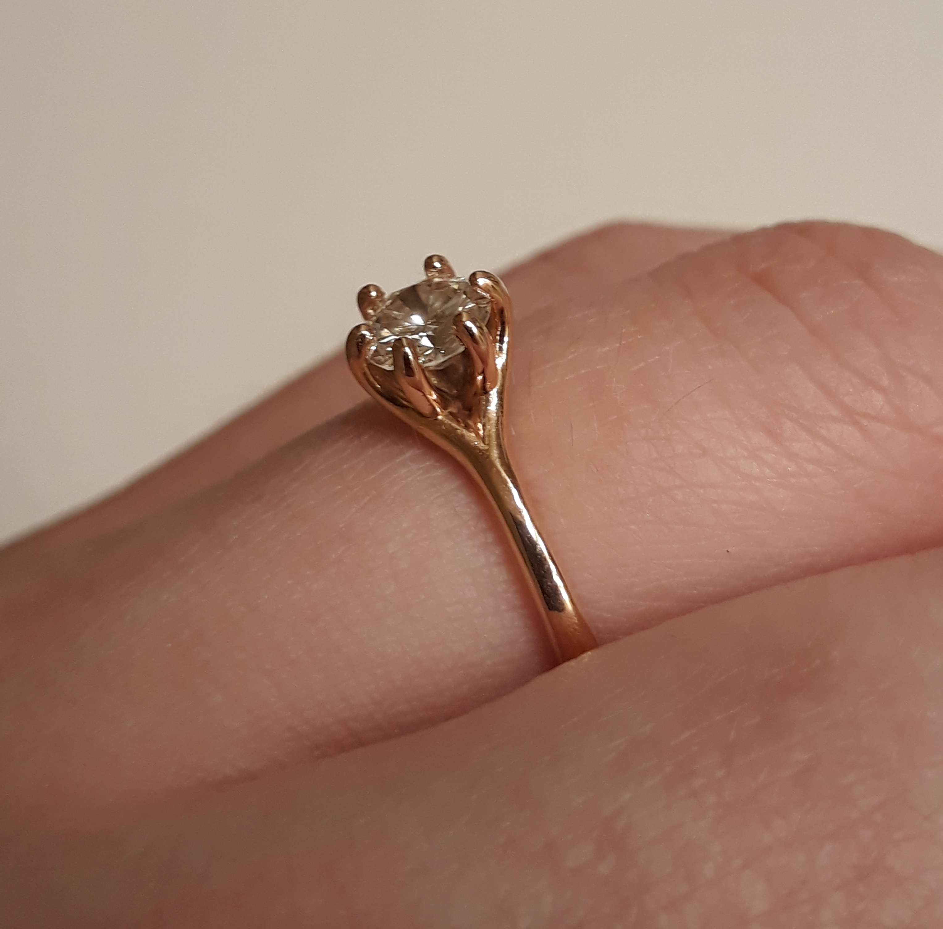 6da200e1c93b3 *Price Reduced!* 14k Rose Gold Solitaire and Band