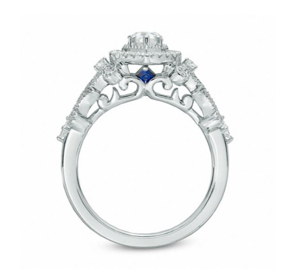 b7b74a9628bf8 Vera Wang Love Collection 1 CT. T.W. Pear-Shaped Diamond Frame Engagement  Ring in 14K White Gold