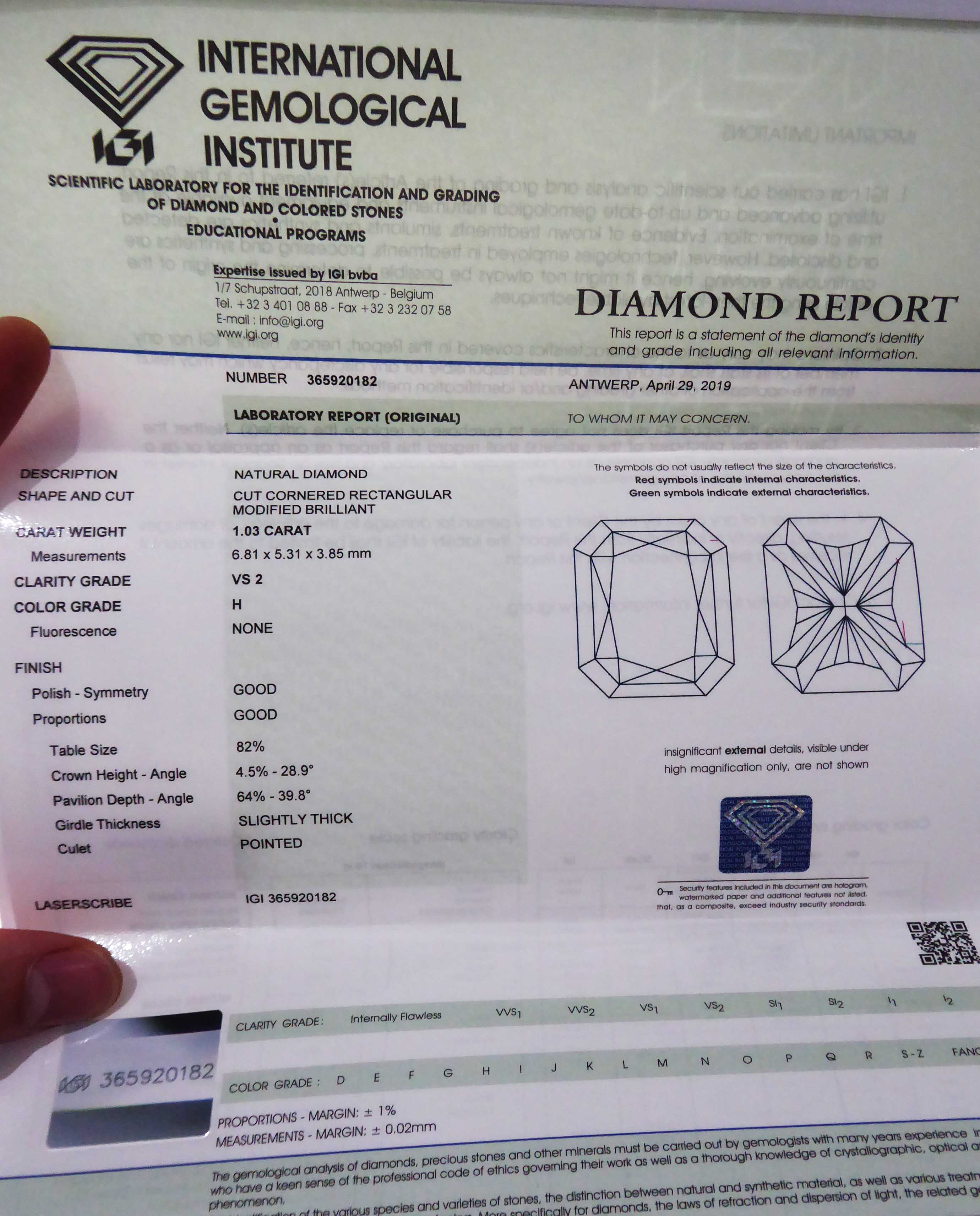 IGI Certified Platinum 1.15ct