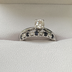 Custom Wedding Bands.Solitaire Engagement Ring With Custom Diamond And Sapphire Wedding Band