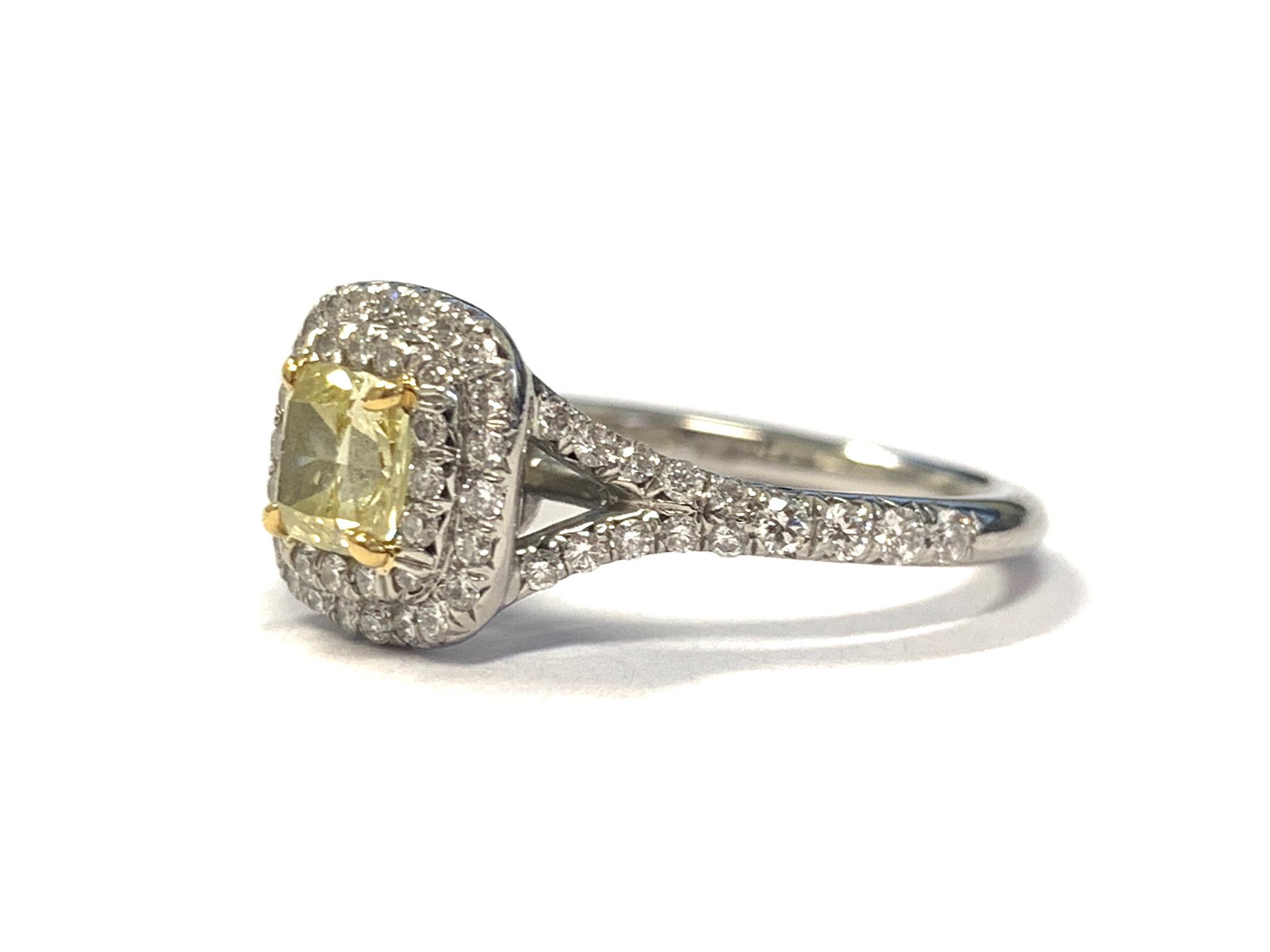 Tiffany Co Soleste Fancy Intense Yellow Cushion Cut Diamond Ring