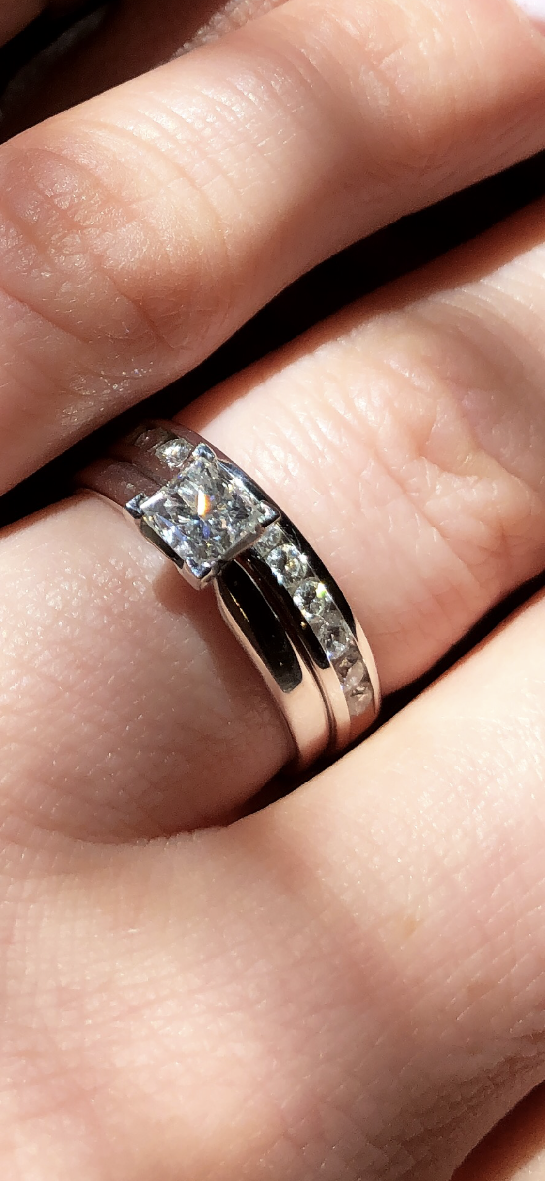 9695a9c005448 Helzberg 14K white gold solitaire engagement ring and diamond wedding band  in 14K white gold